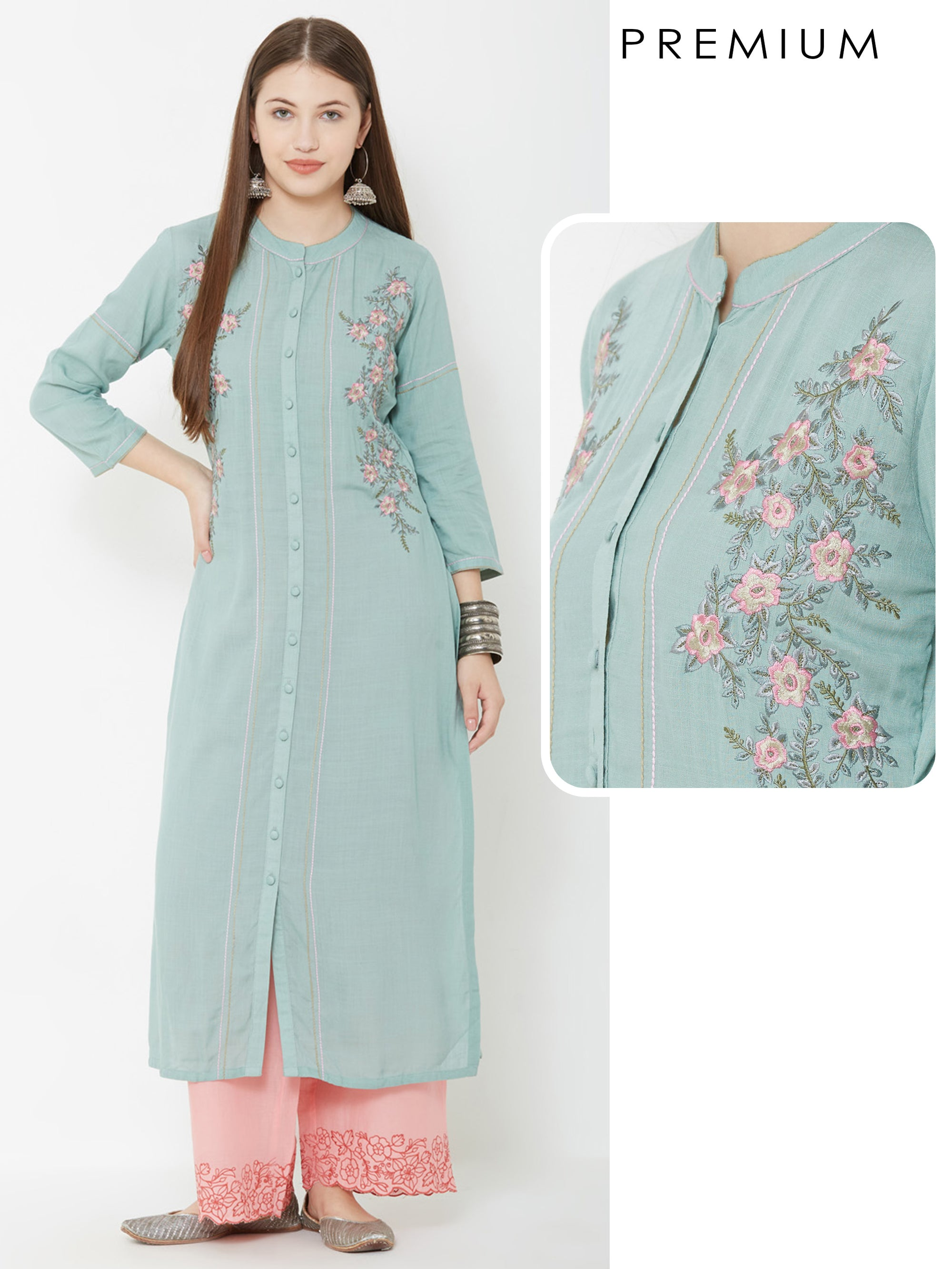 Floral Embroidered & Running Stitched kurta – Green