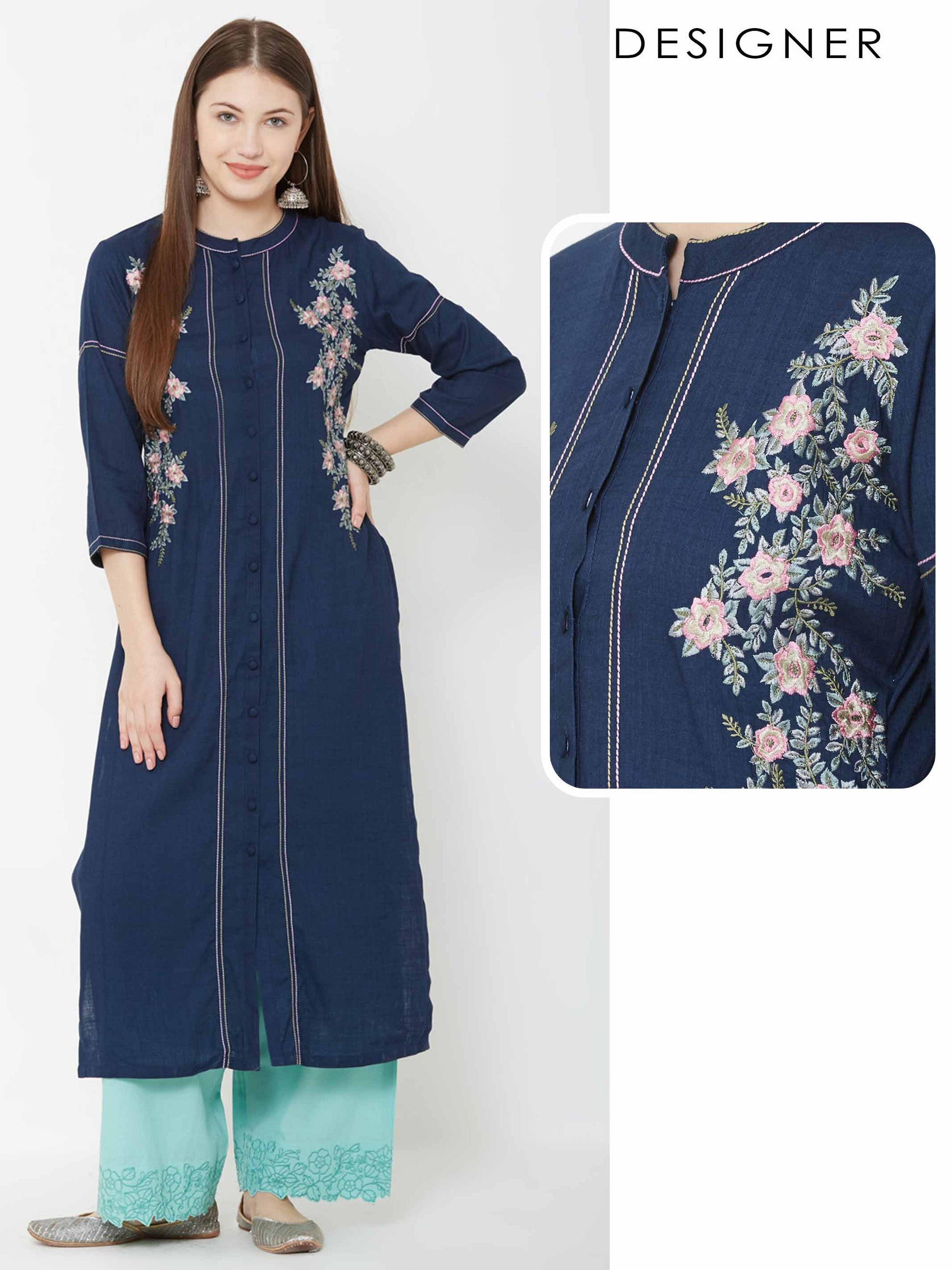 Floral Embroidered & Running Stitched kurta – Navy Blue