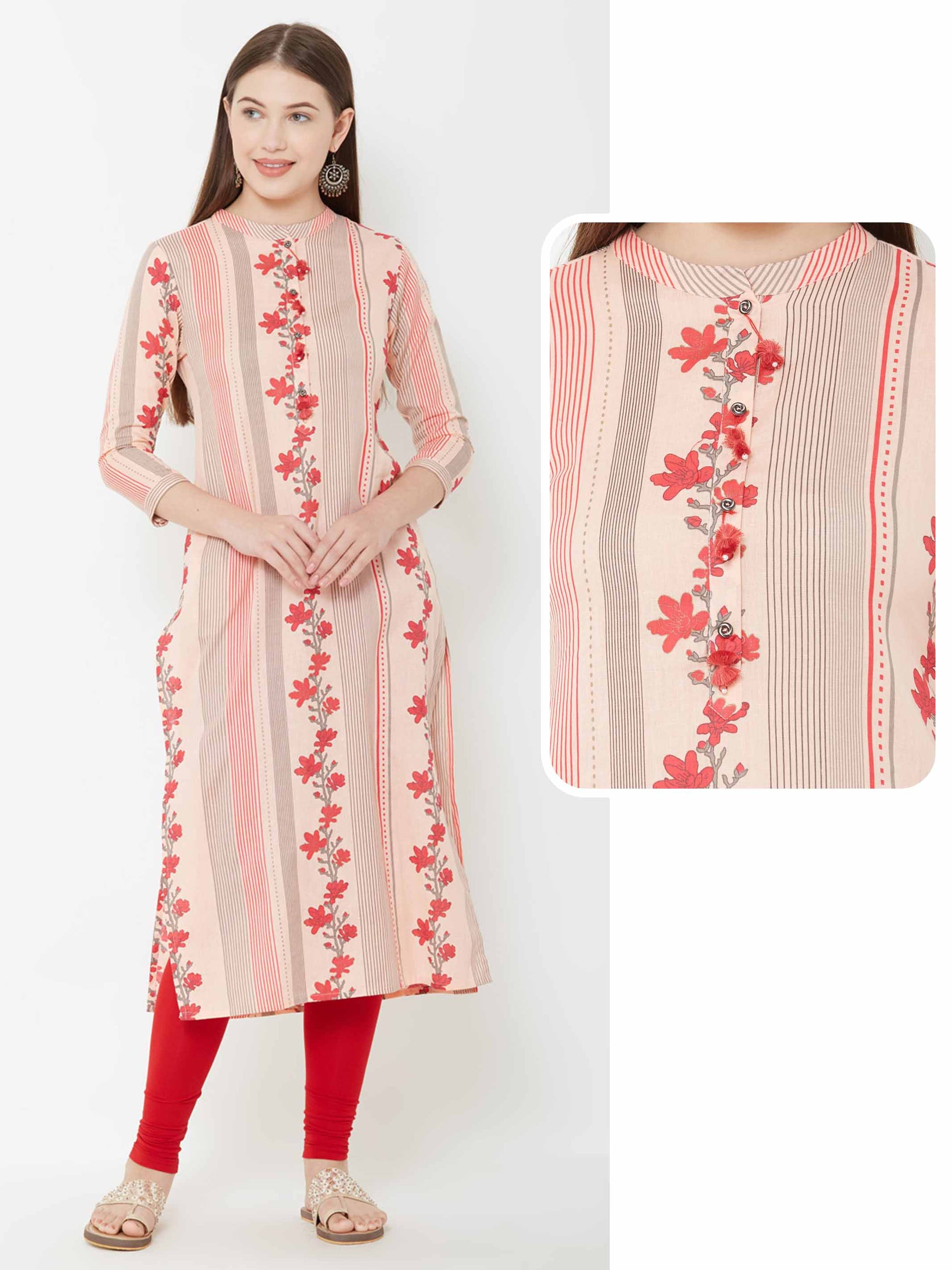 Floral Printed & Chalk Striped kurta – Peach