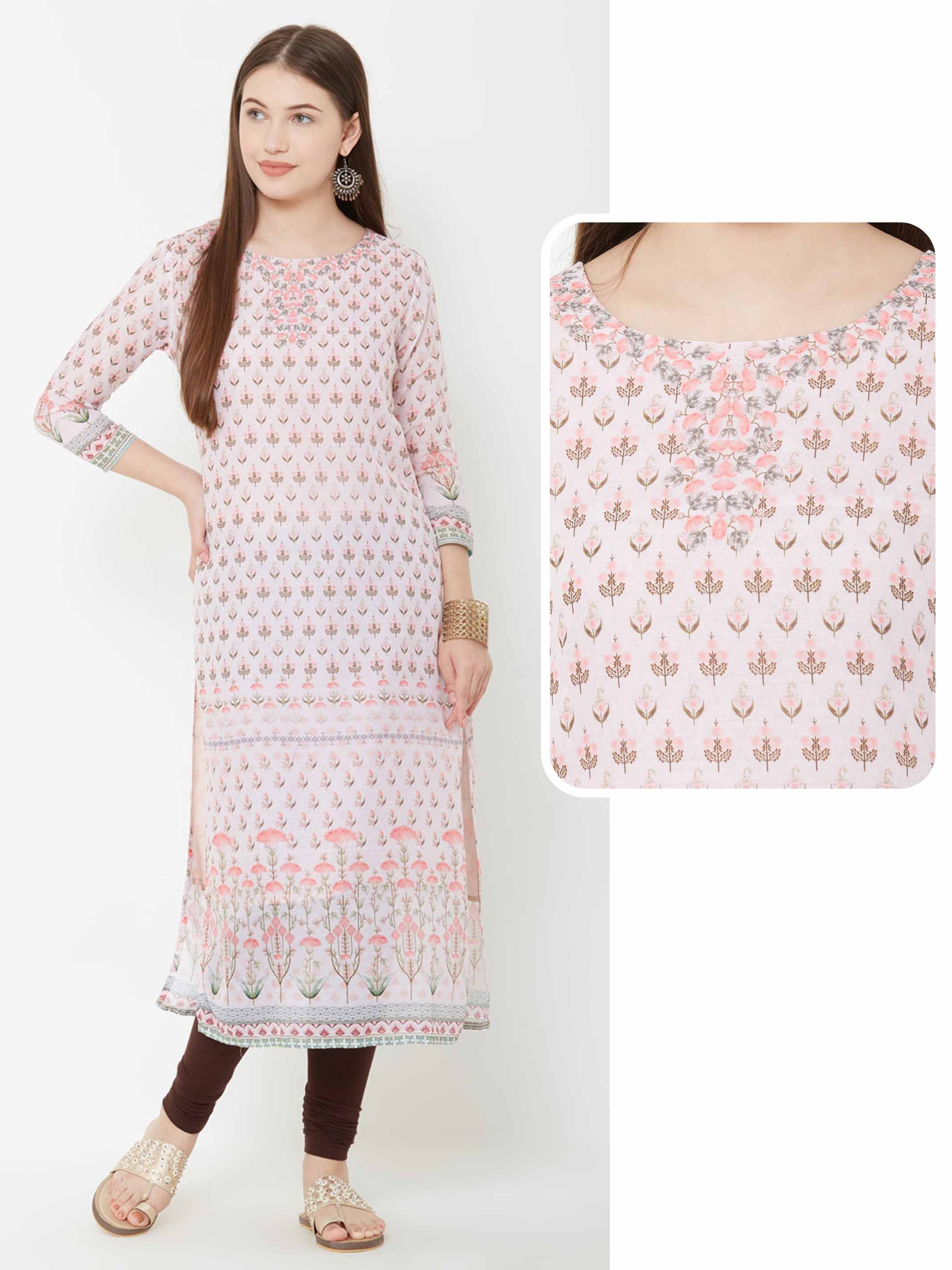 Floral Printed Cotton Kurta – Pink