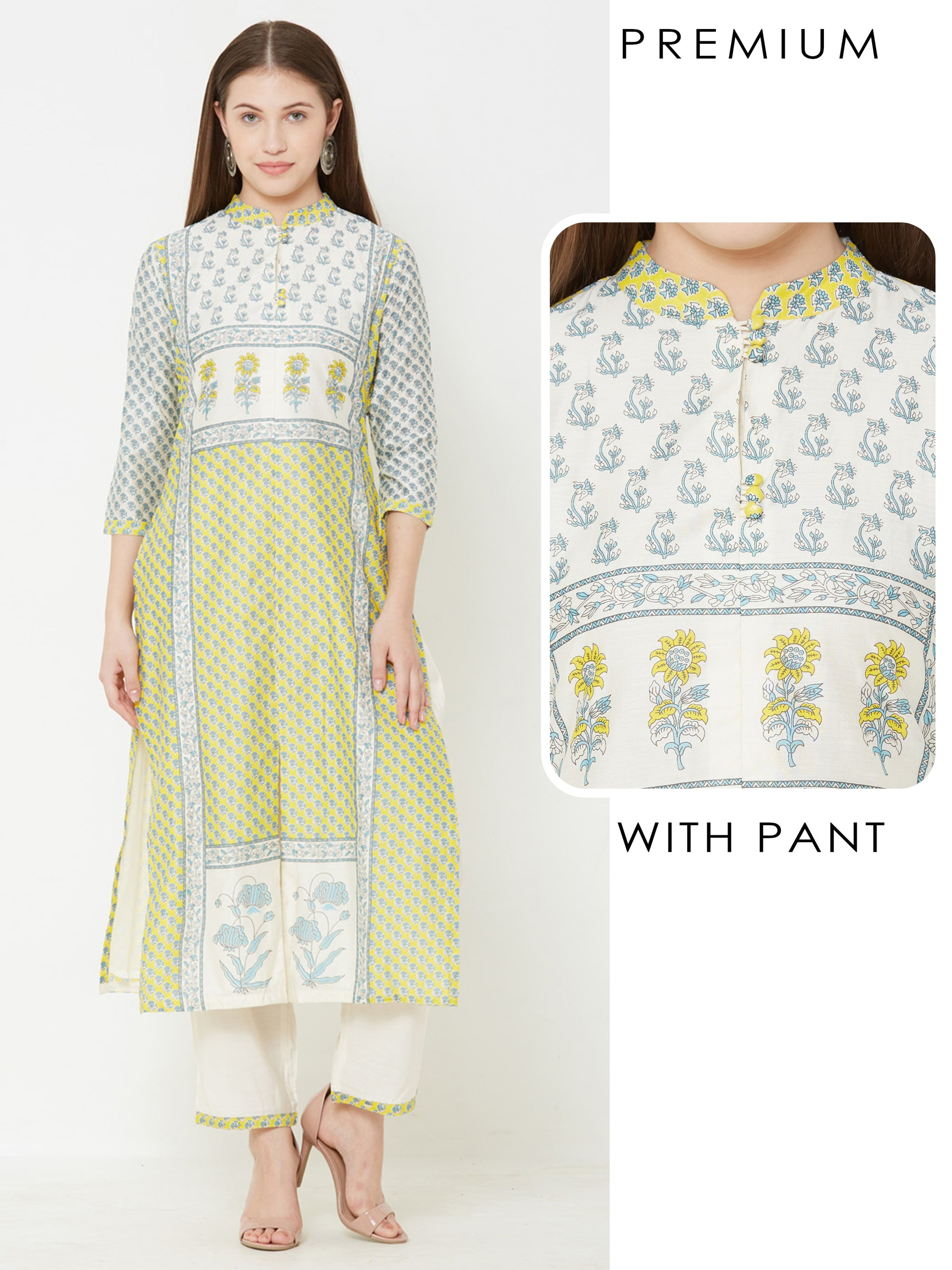 Floral Printed Kurta with Solid Pant – Yellow
