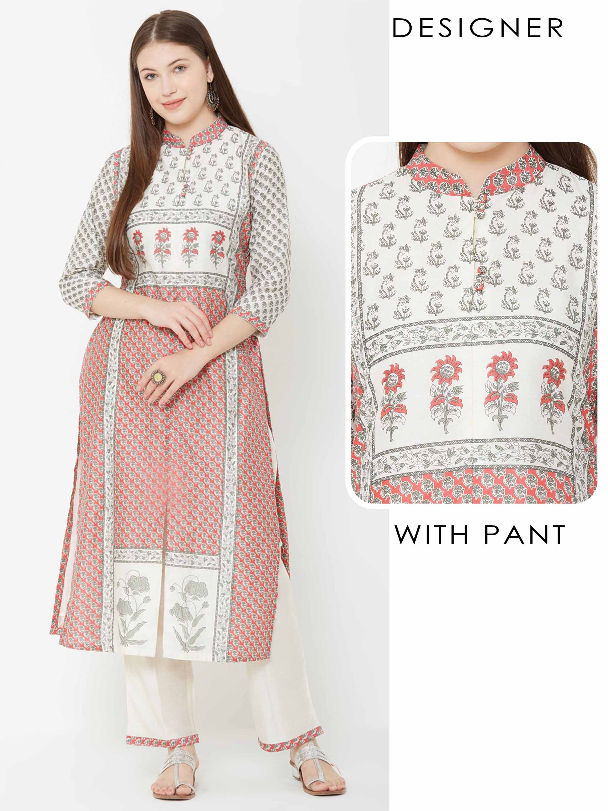 Floral Printed Kurta with Solid Pant – Off White