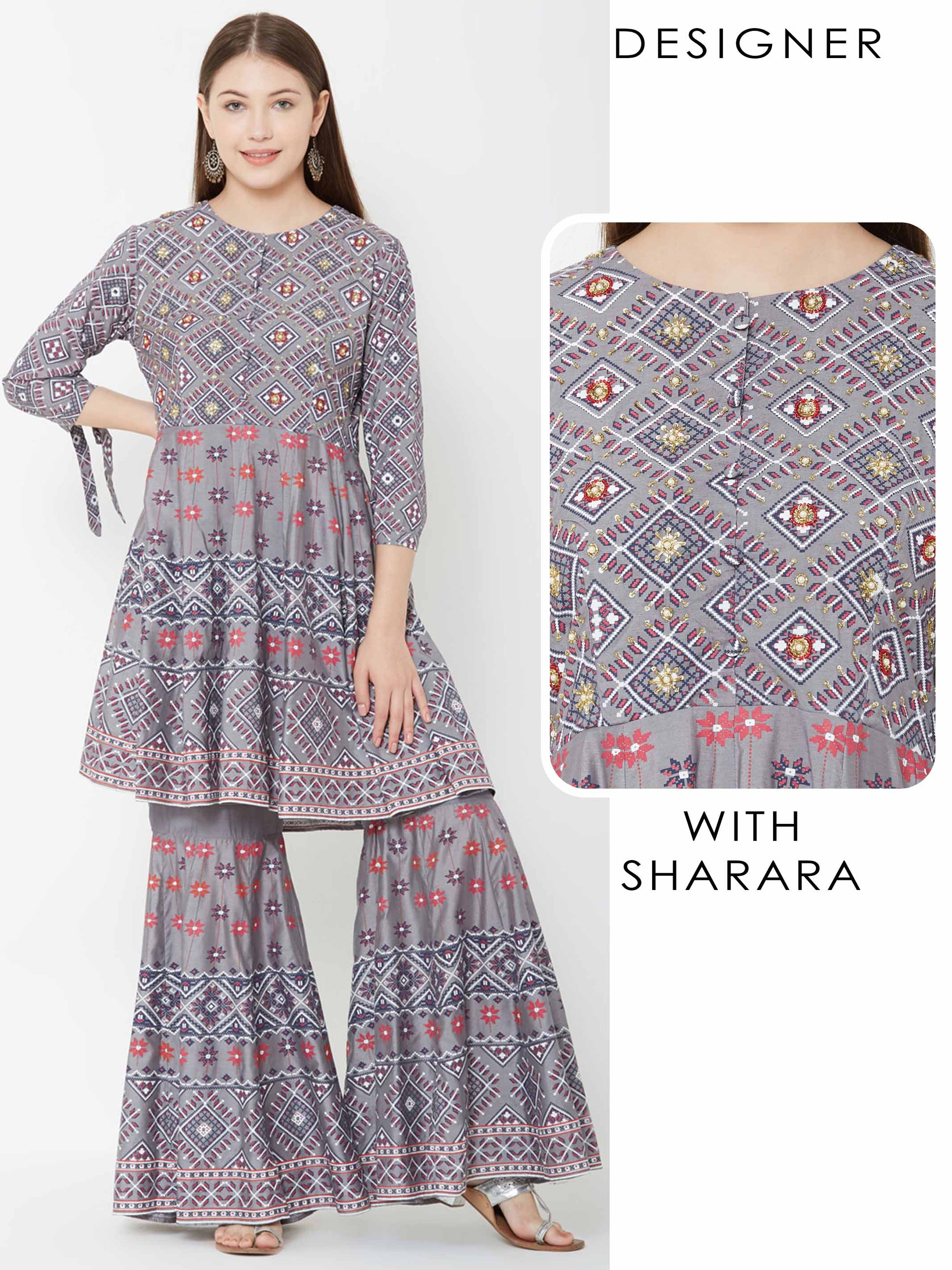 Cutdana & Beads Embellished Kurta with Floral Sharara – Grey