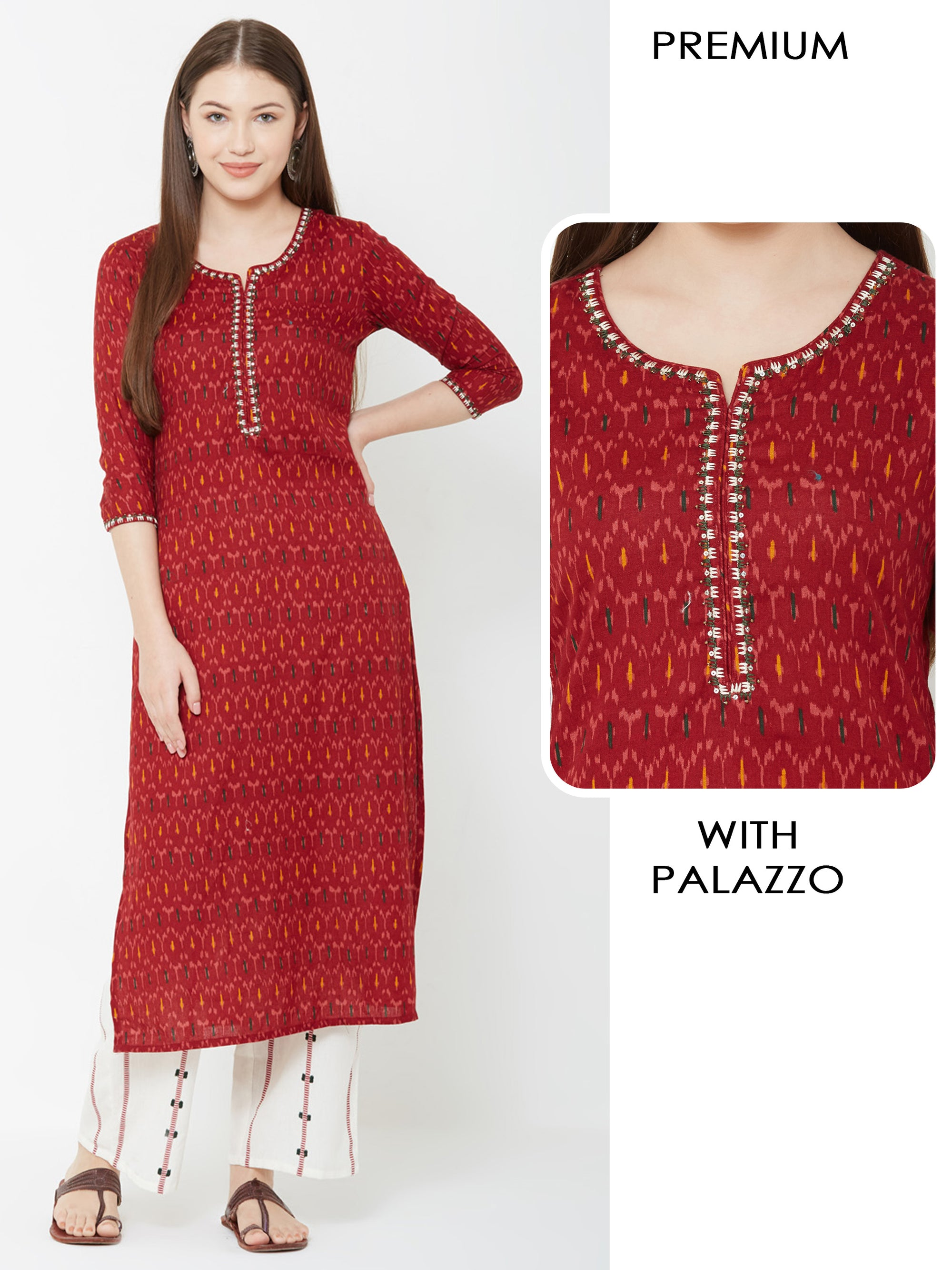 Ikkat Printed Sequins Kurta with Striped Palazzo – Red