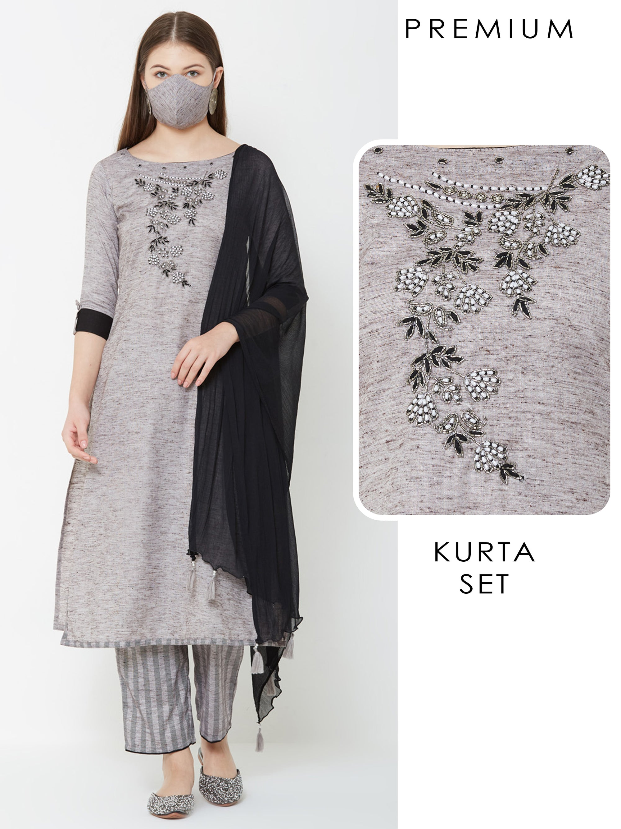 Floral Embroidered Kurta, Solid Striped Palazzo with Mask & Dupatta – Grey