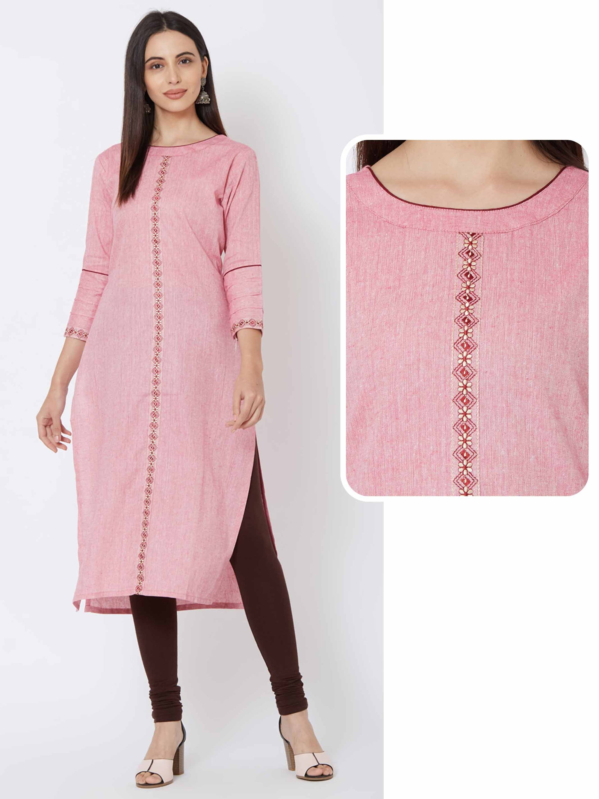 Floral & Diamond Embroidered Kurta – Pink