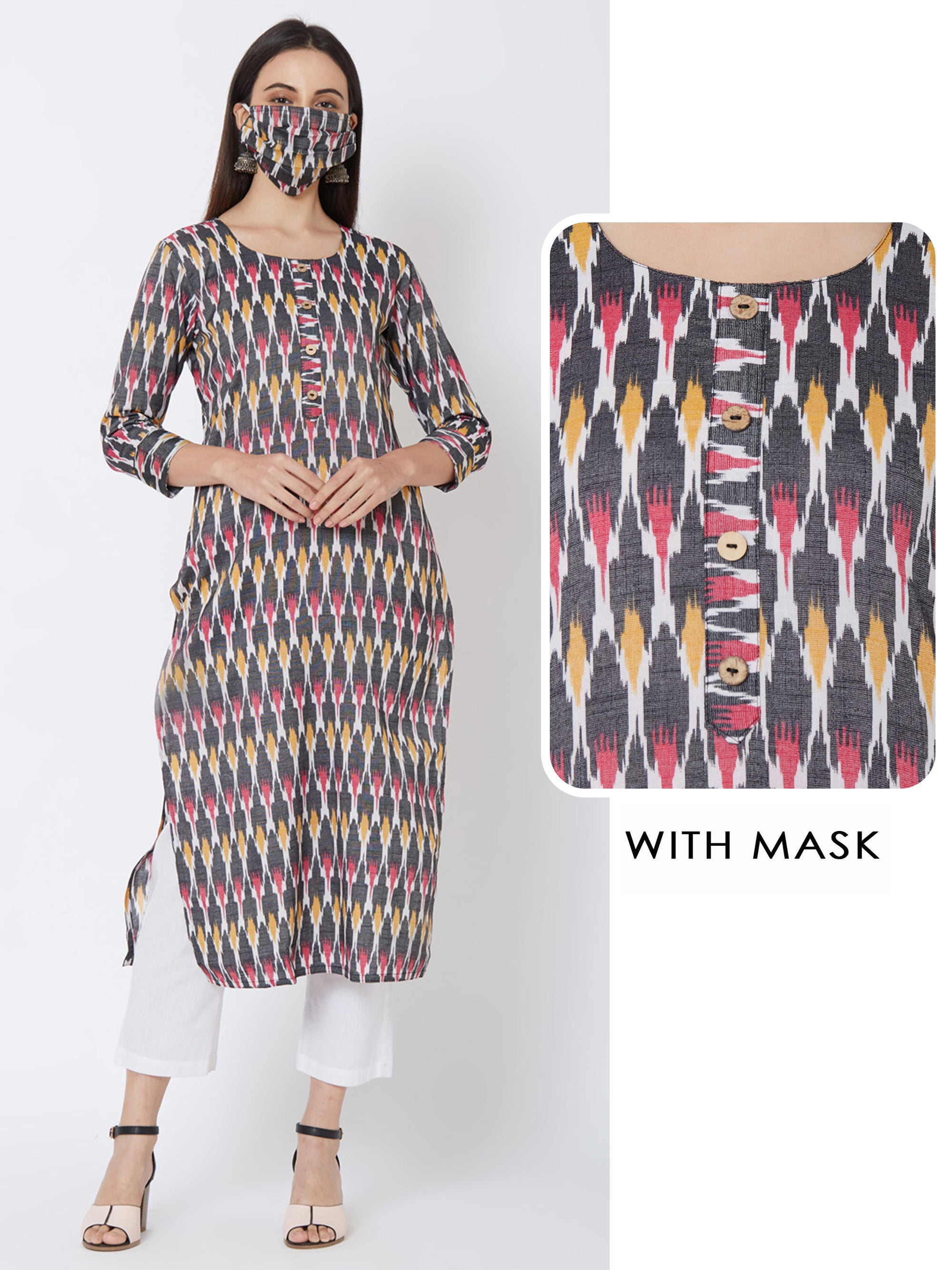 Ikkat Printed Kurta with matching mask – Multi