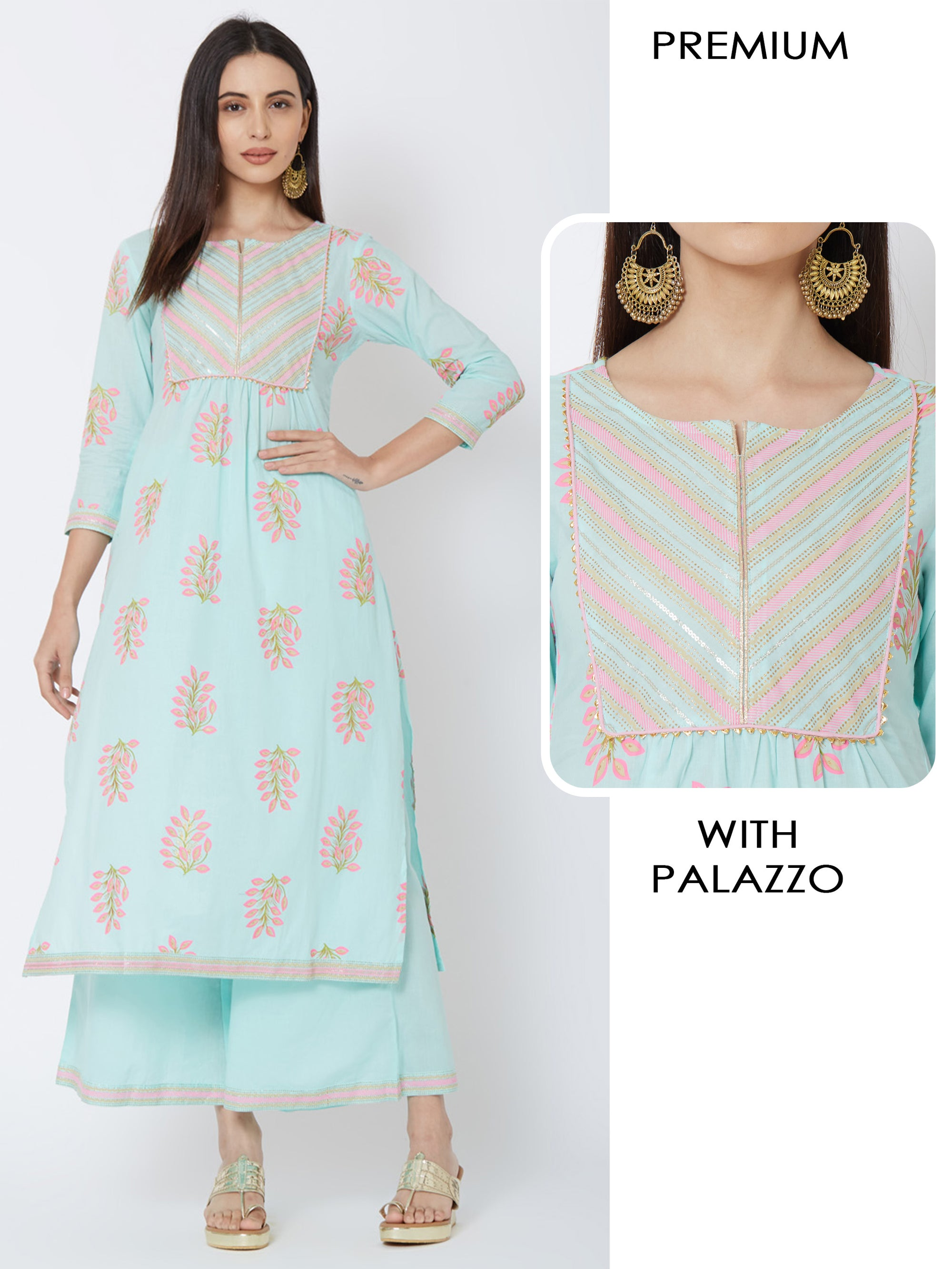 Floral Printed Kurta with Gold Work And Minimal Printed Palazzo – Turquoise