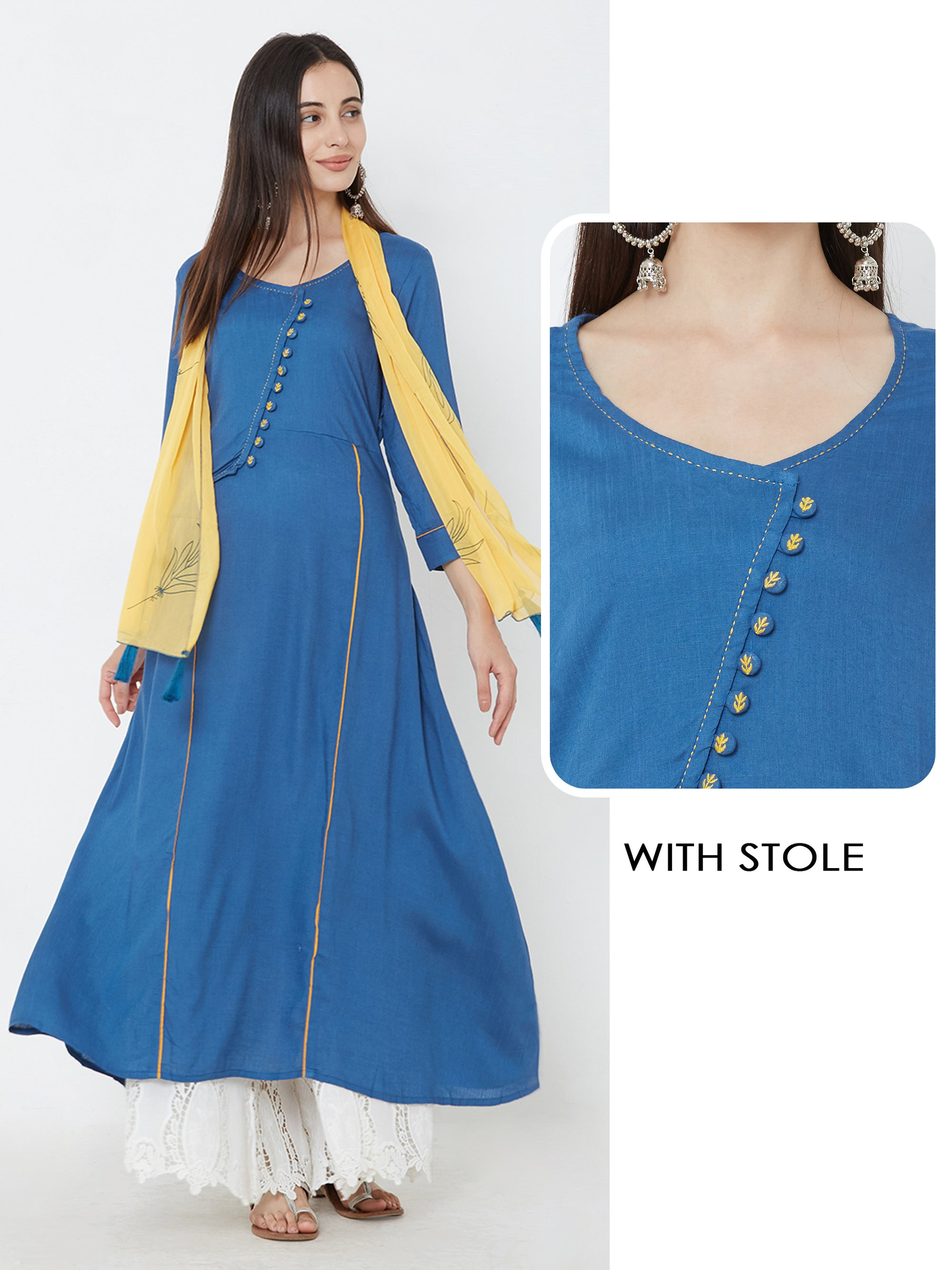 A-line Kurta Adorned With Sideway Button And Stole - Blue