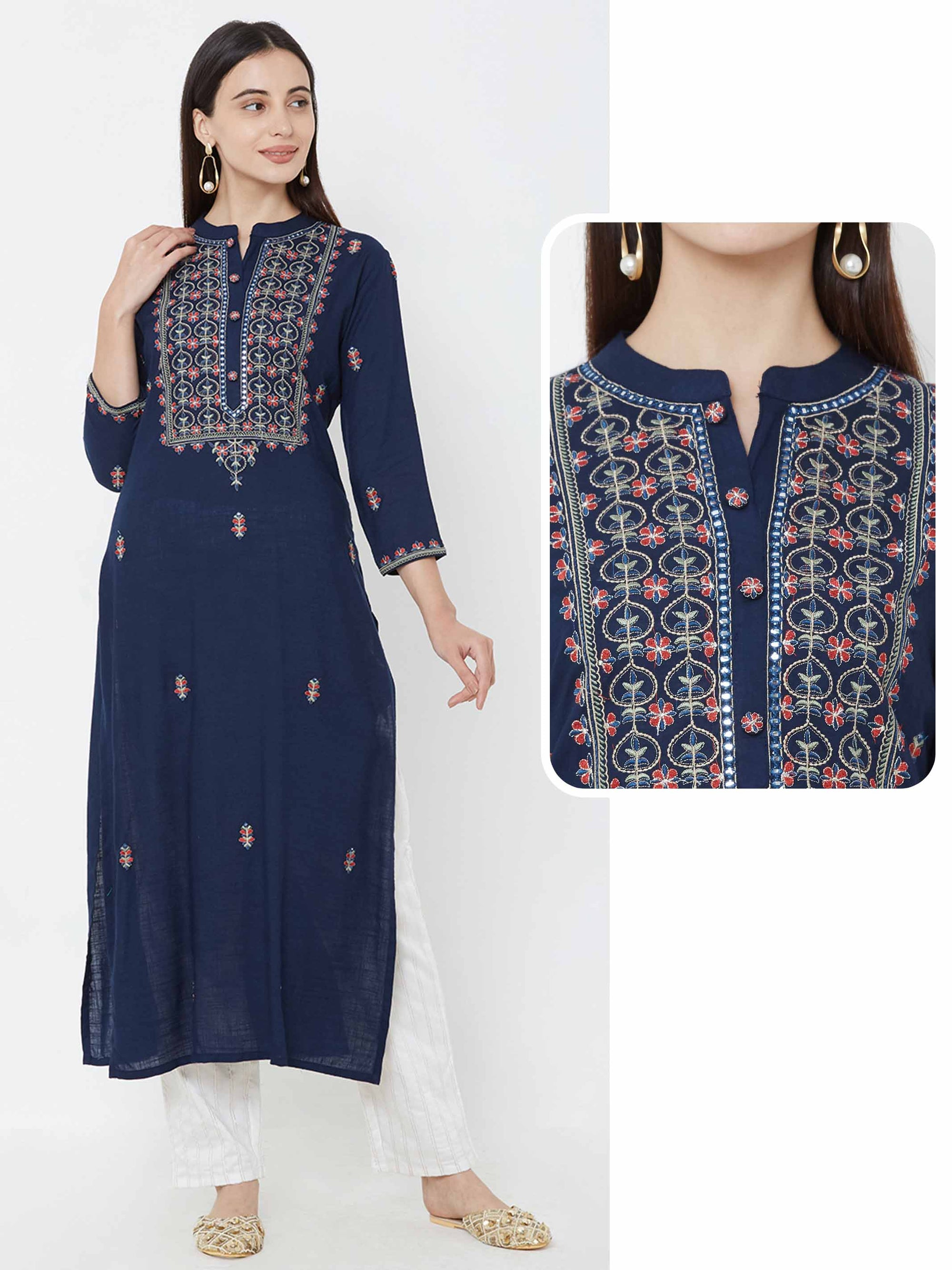 Floral Zari Embroidered Kurta – Navy Blue
