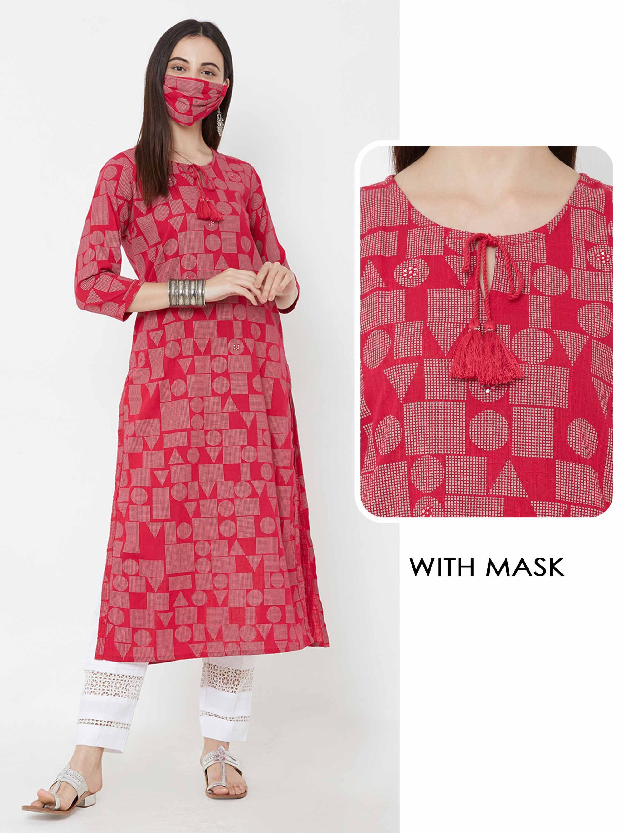 Geometric Printed Kurta With Matching Mask – Pink