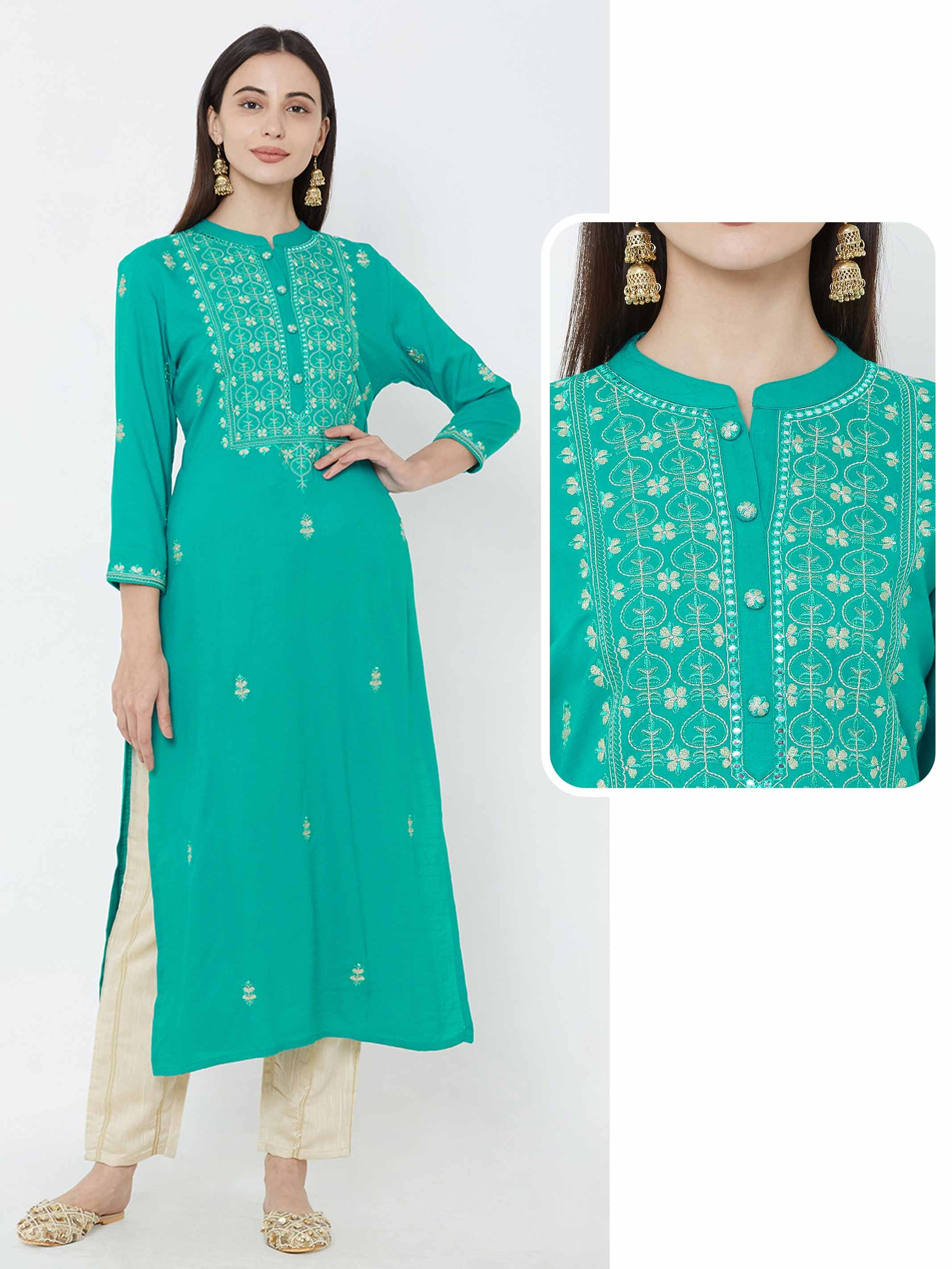 Floral zari Embroidered Kurta – Sea Green
