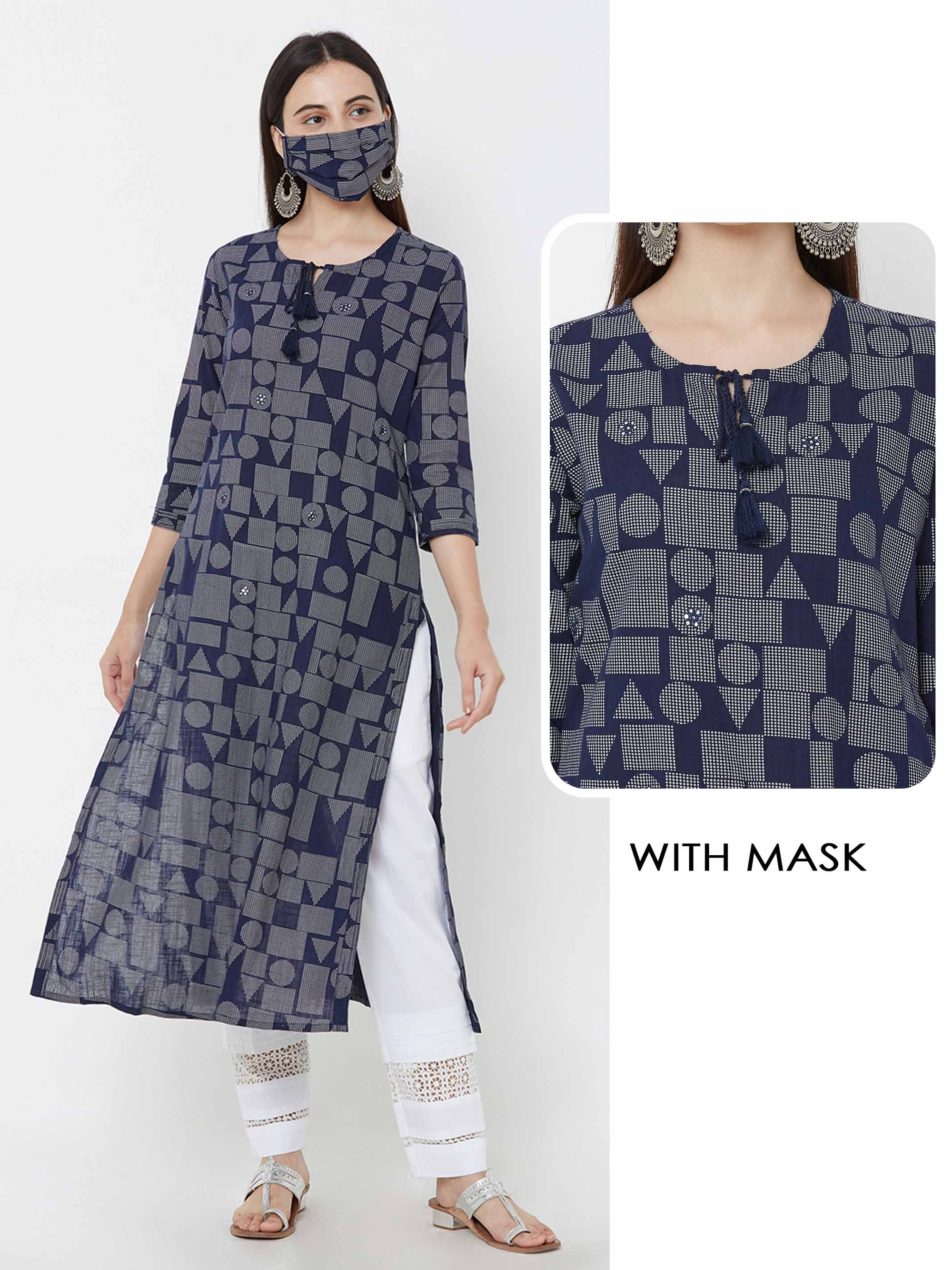 Geometric Printed Kurta With Matching Mask - Blue