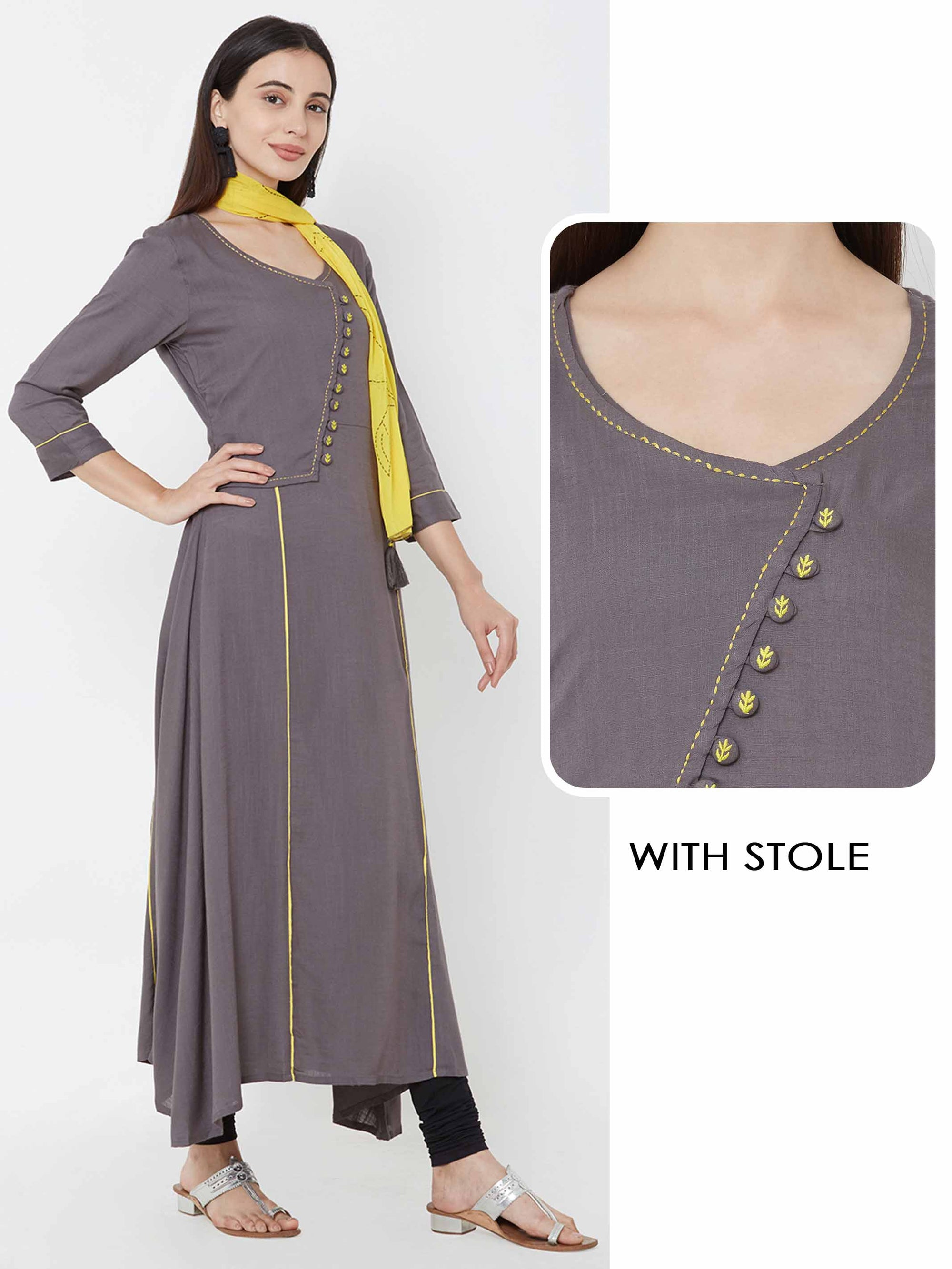 A-line Kurta Adorned With Sideway Button And Stole - Charcoal