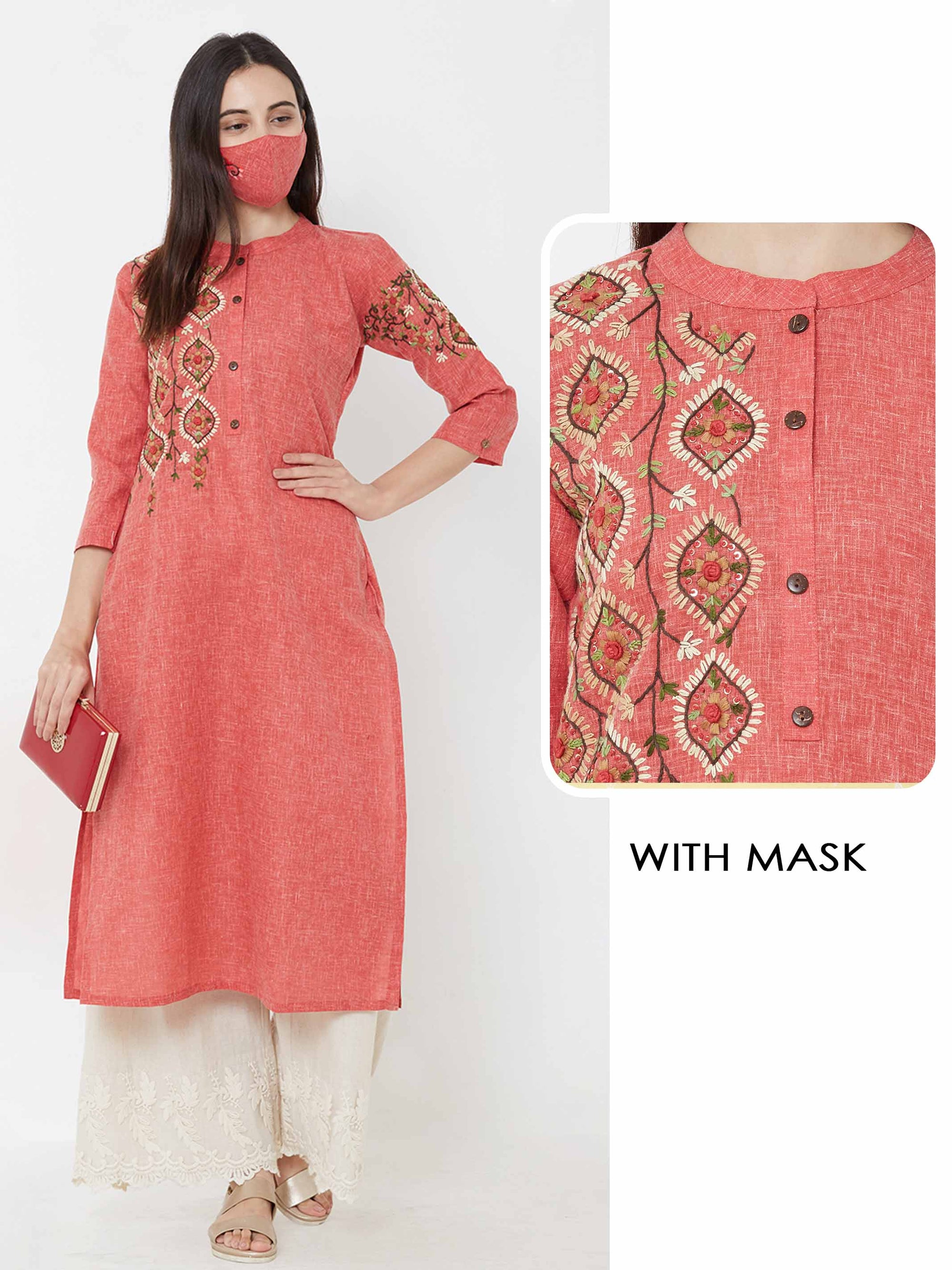 Hand Embroidered Kurta & matching mask – Peach