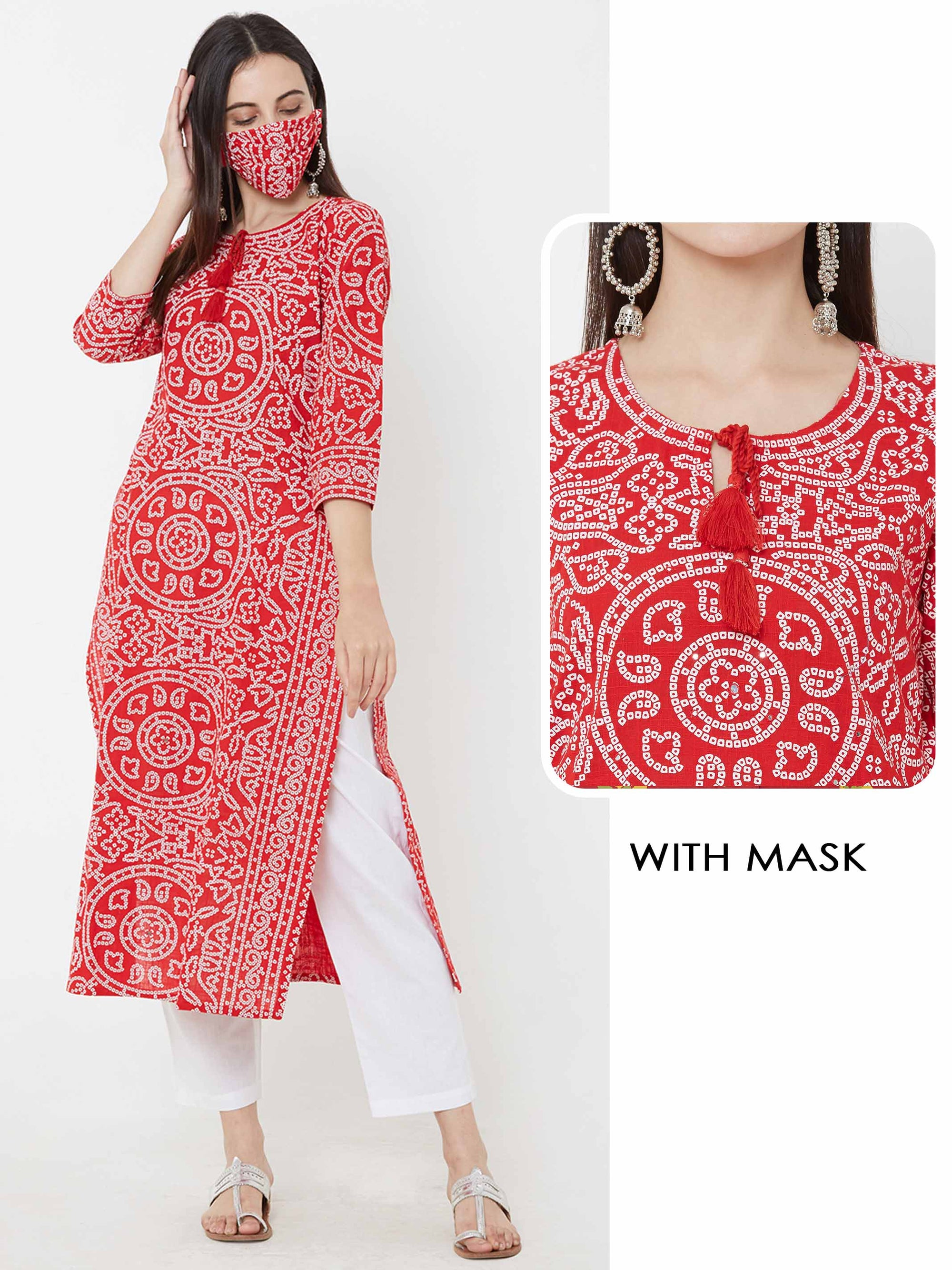 Bandhani printed Kurta & matching mask – Red
