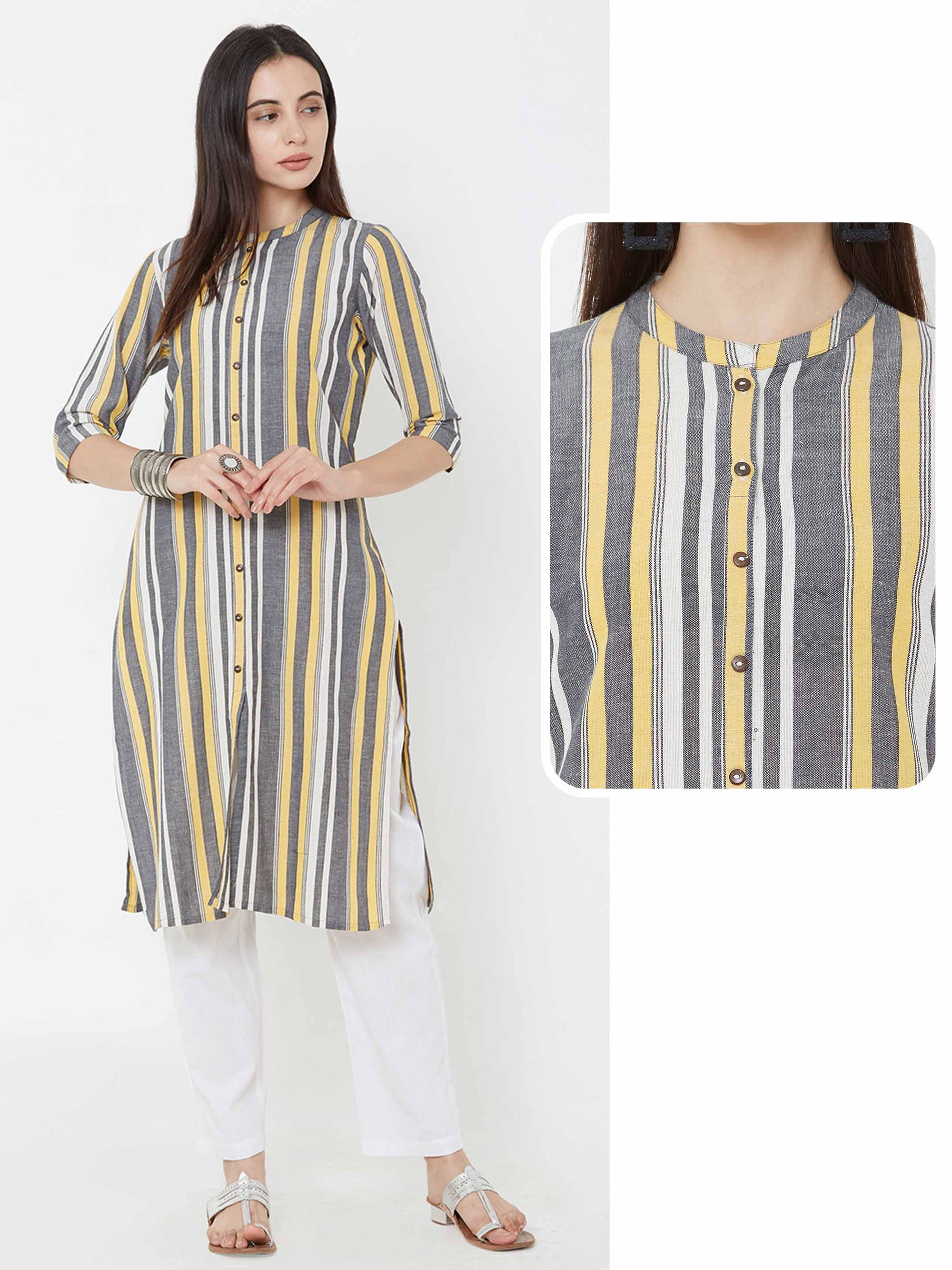 Vertical striped cotton kurta – Multi