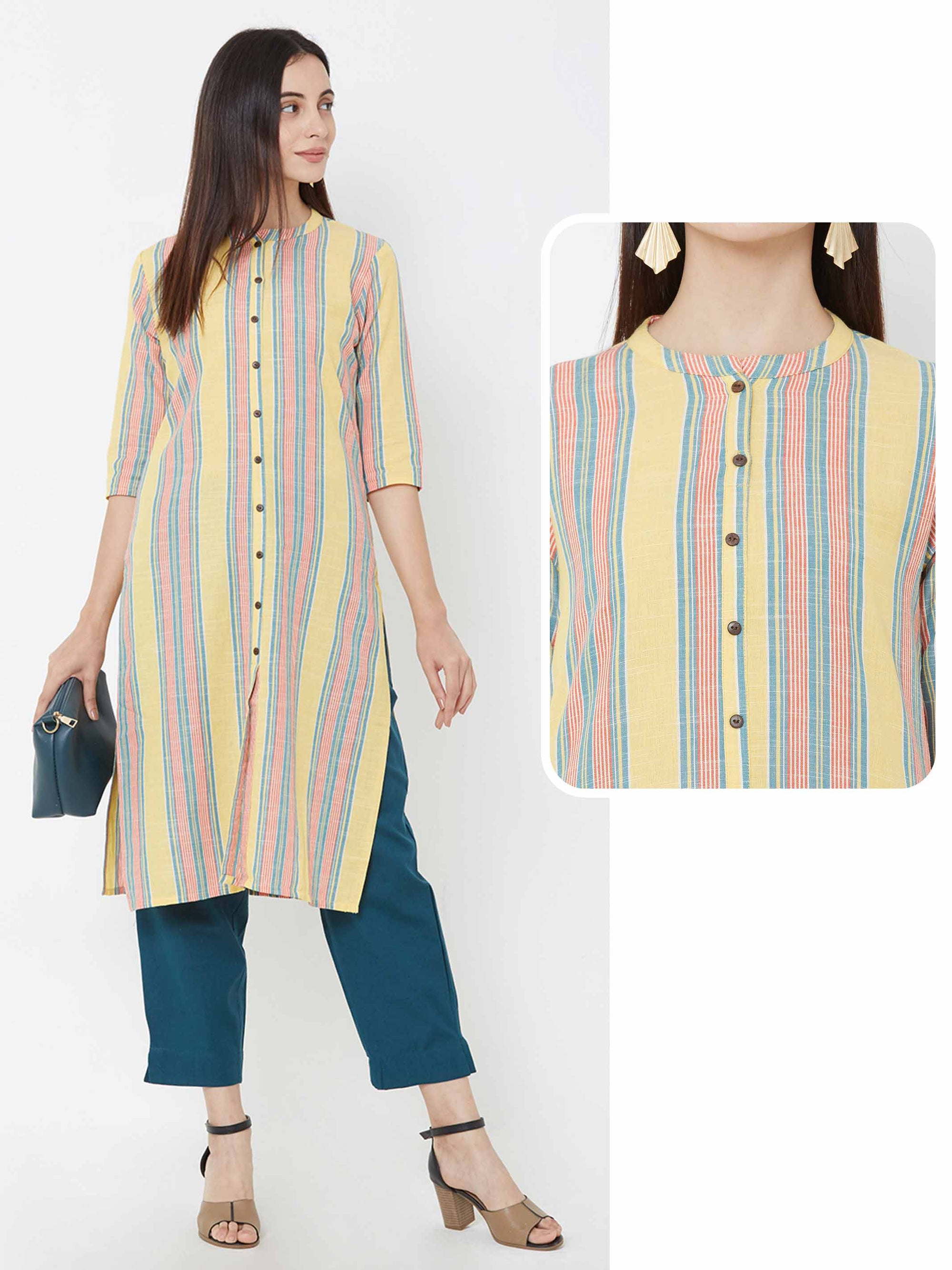Vertical striped cotton kurta – Yellow