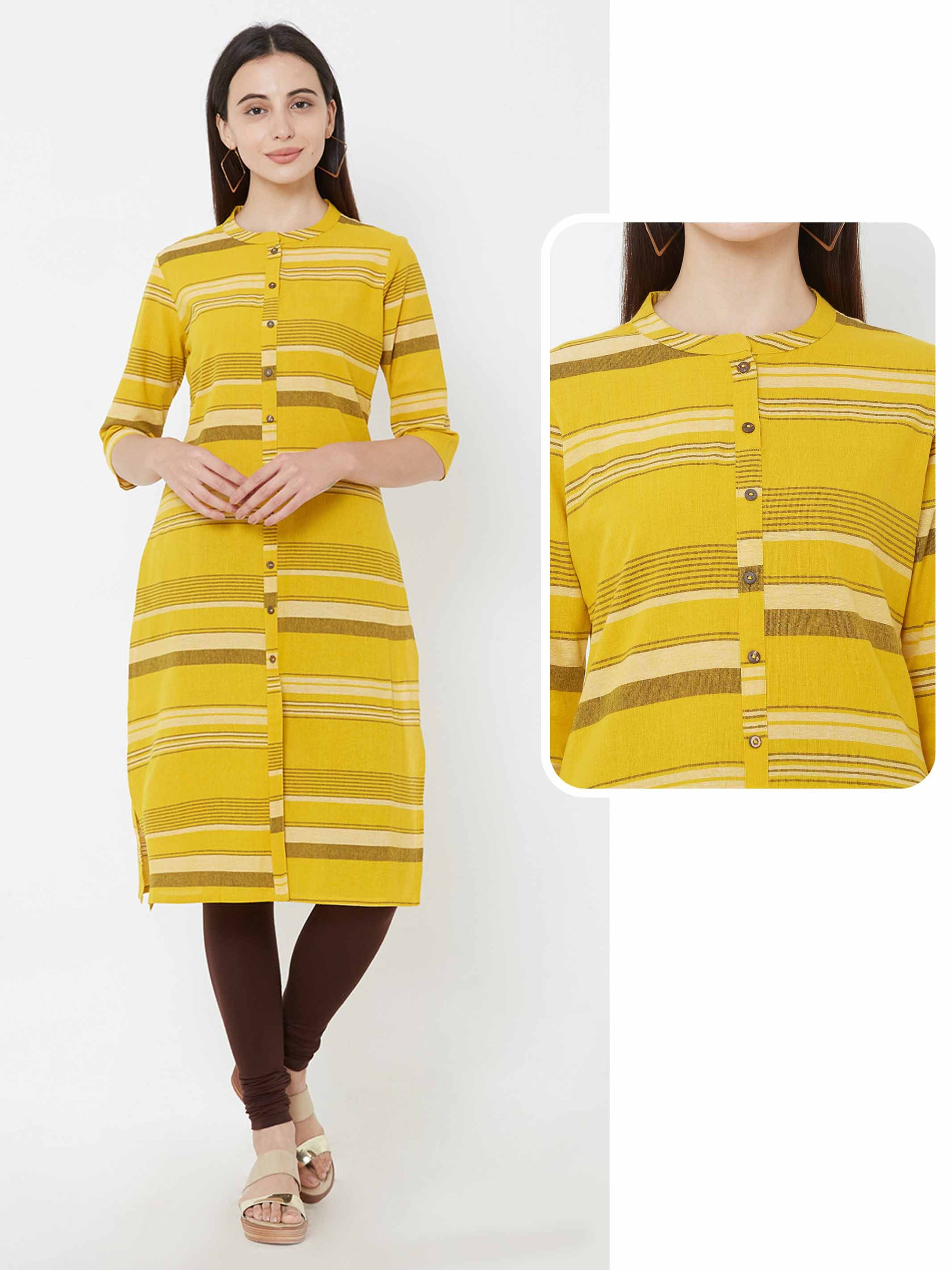 Horizontal striped cotton kurta – Mustard