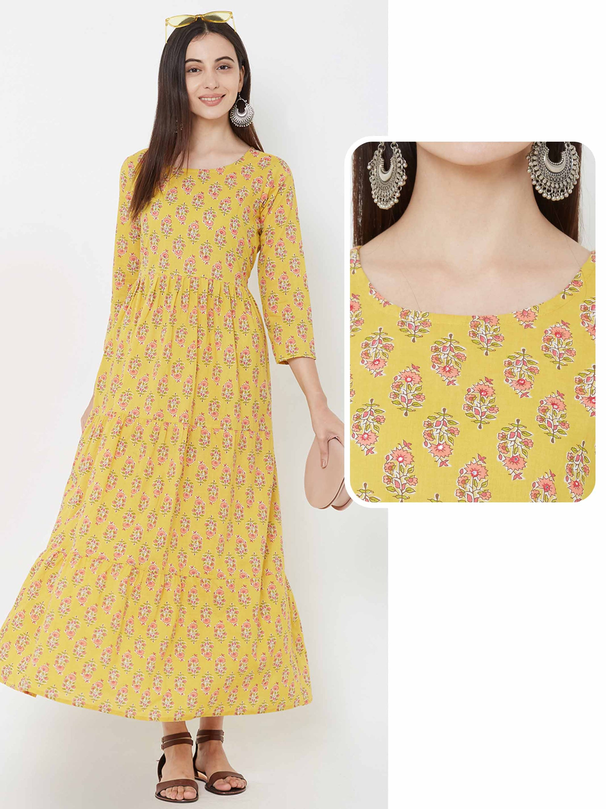 Foil Mirror & Floral printed Tier Maxi – Yellow