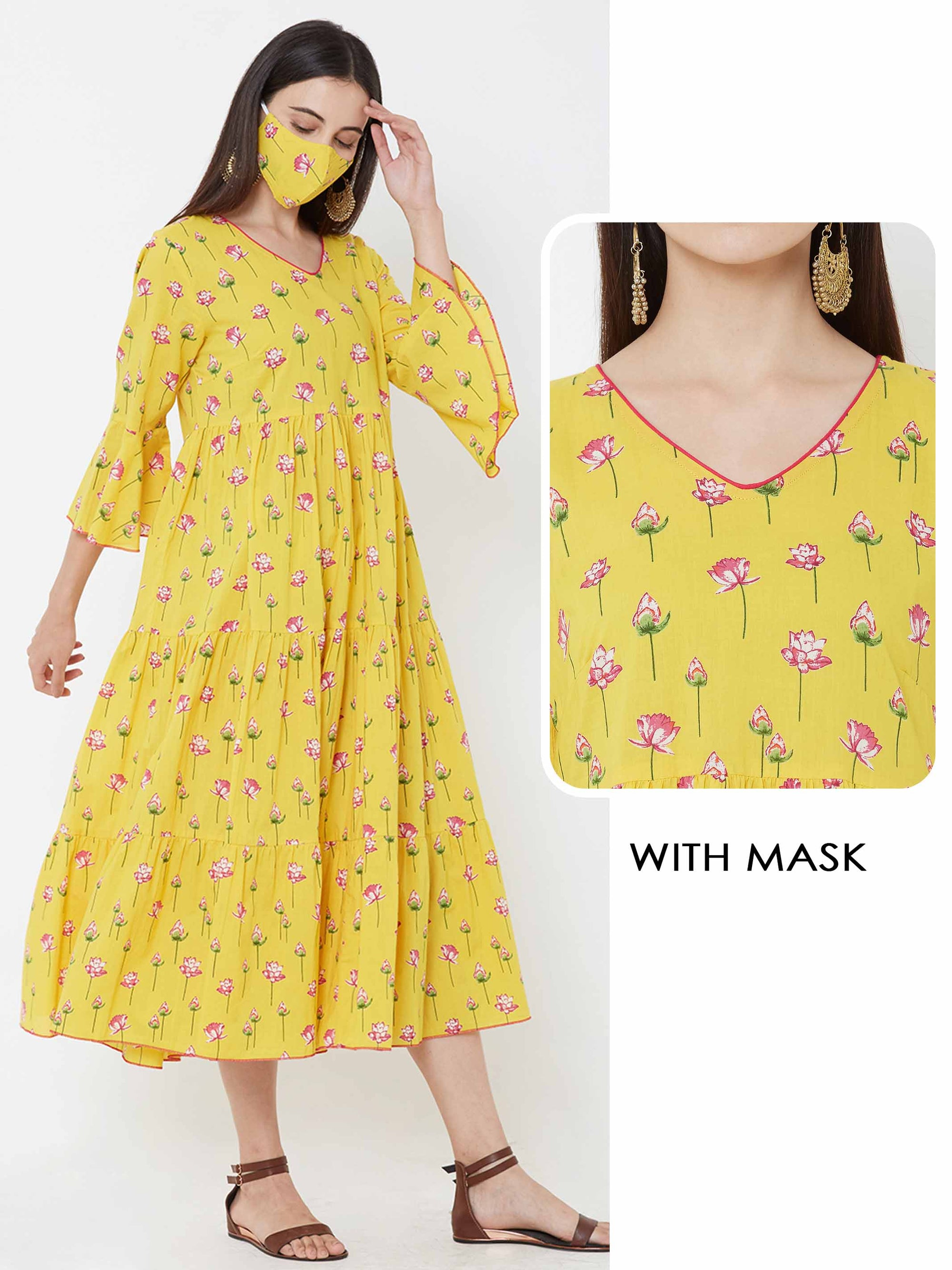 Lotus Scattered Printed Tiered Dress with Matching 2 Ply Mask – Yellow
