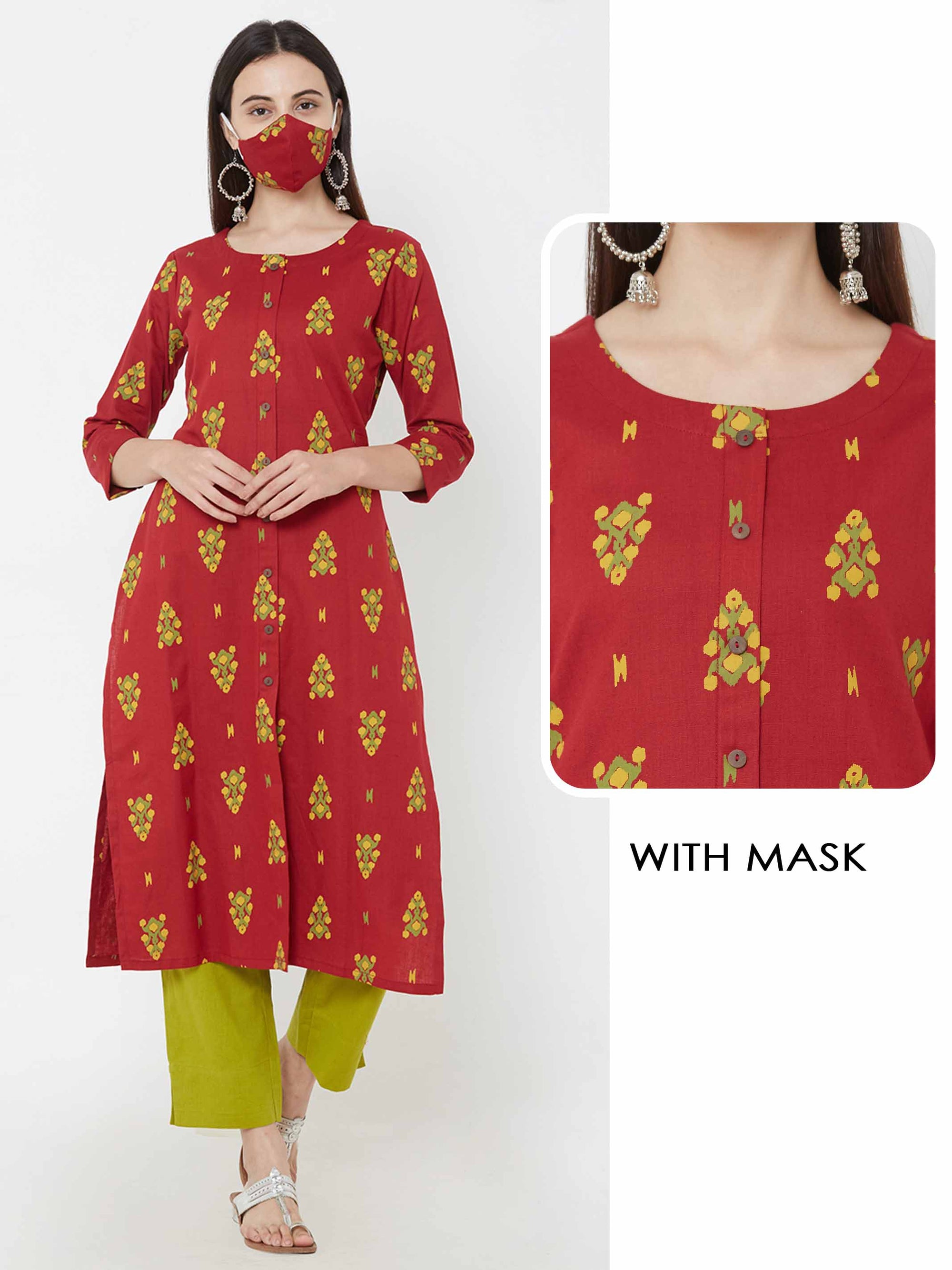 Abstract Ikkat printed Kurta & matching mask – Maroon