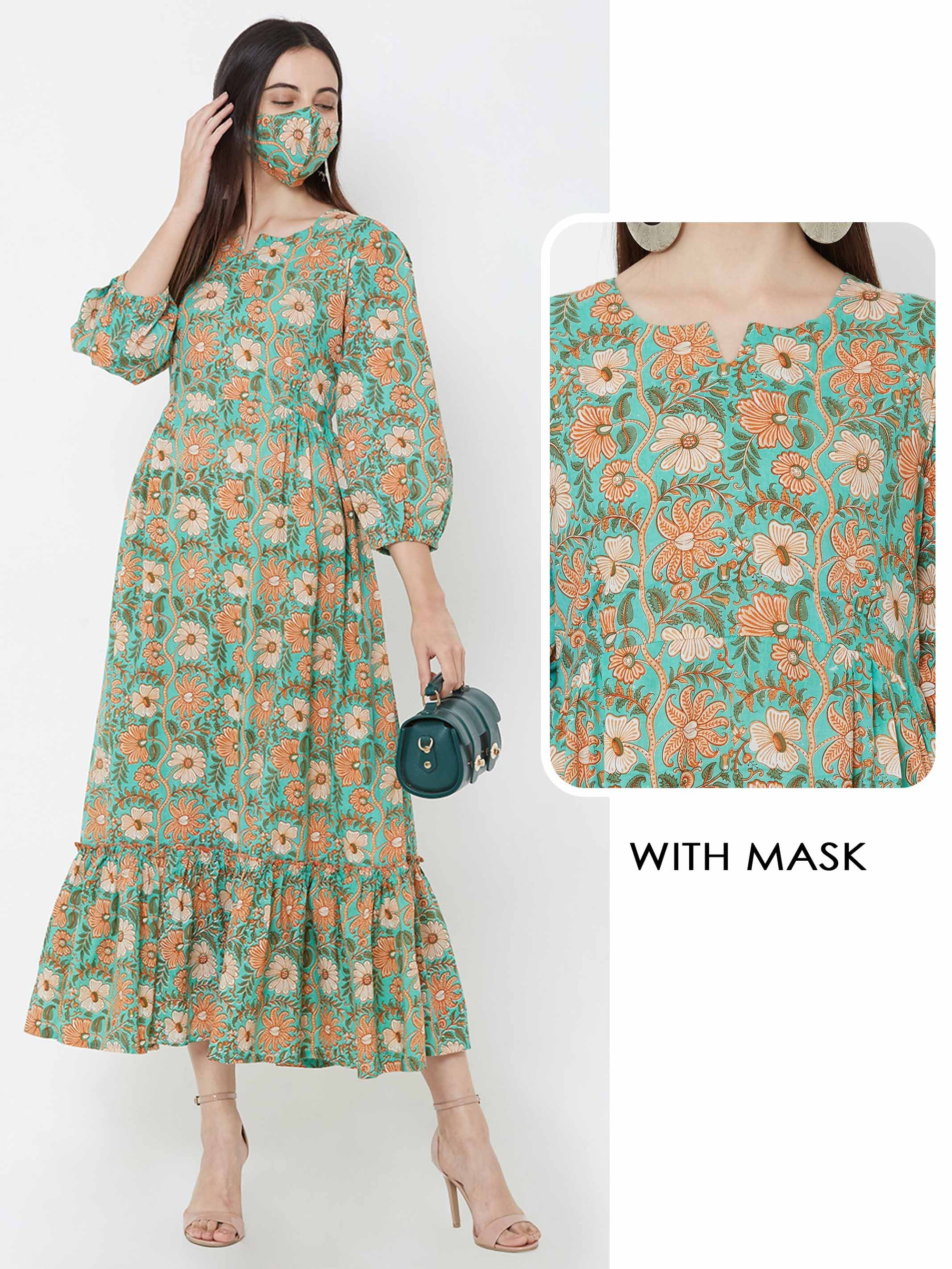 Floral printed Ruffle Maxi with Matching Mask – Green