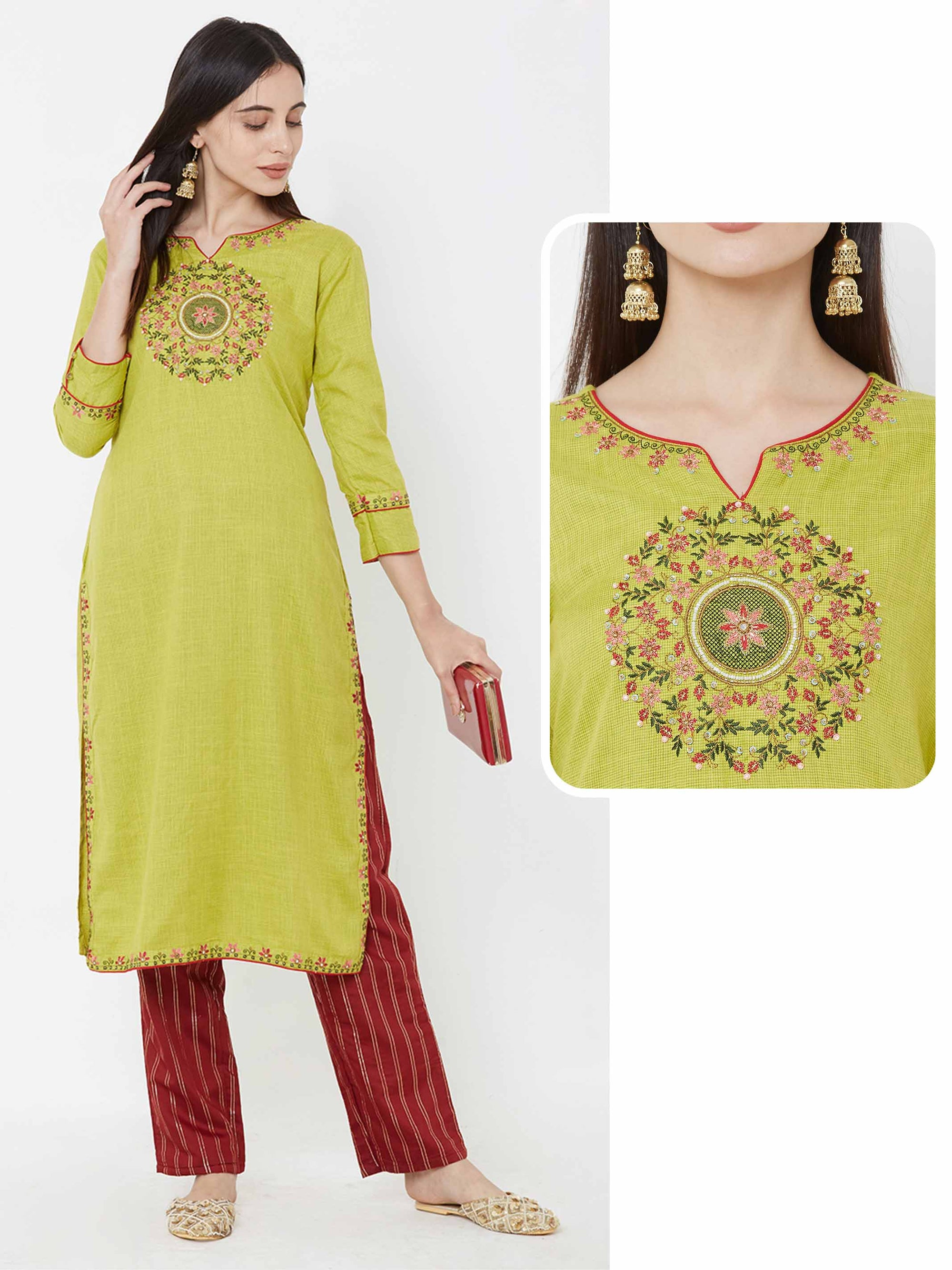 Placement Floral Embroidered Kurta – Lime Green