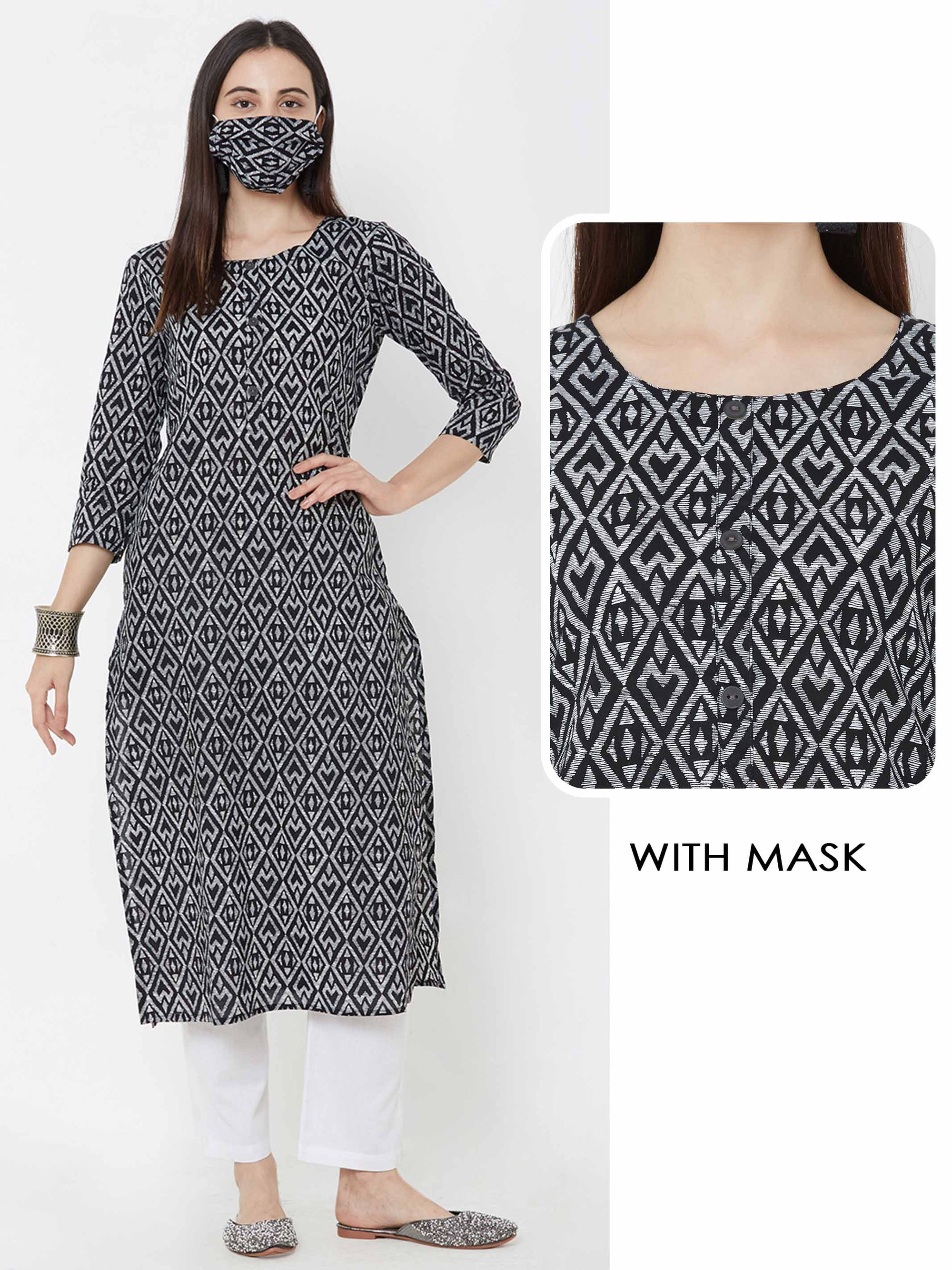 Abstract Diamond printed Cotton Kurta with matching mask – Black