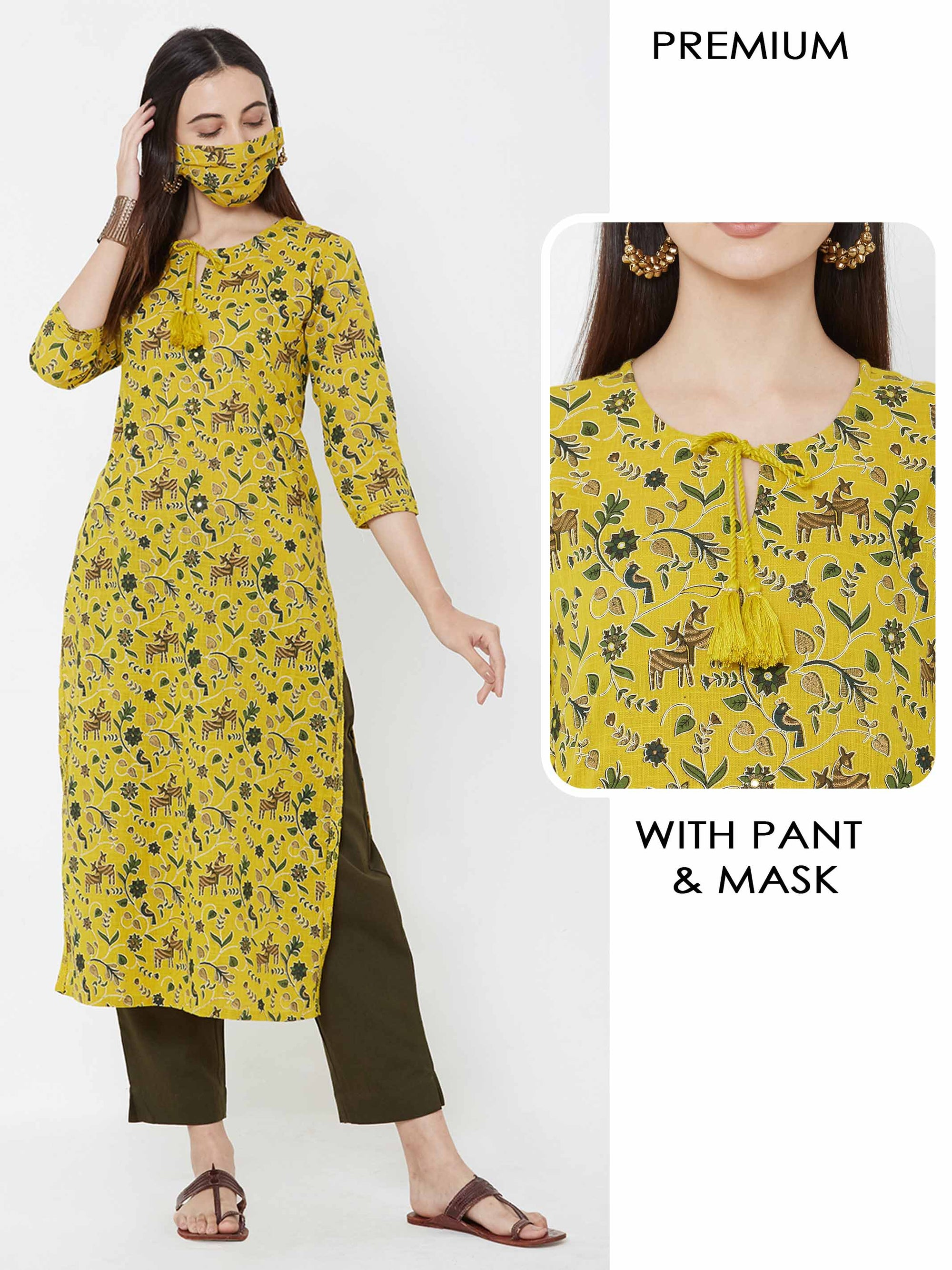 Deer & birds printed Kurta with solid Pant & mask – Mustard