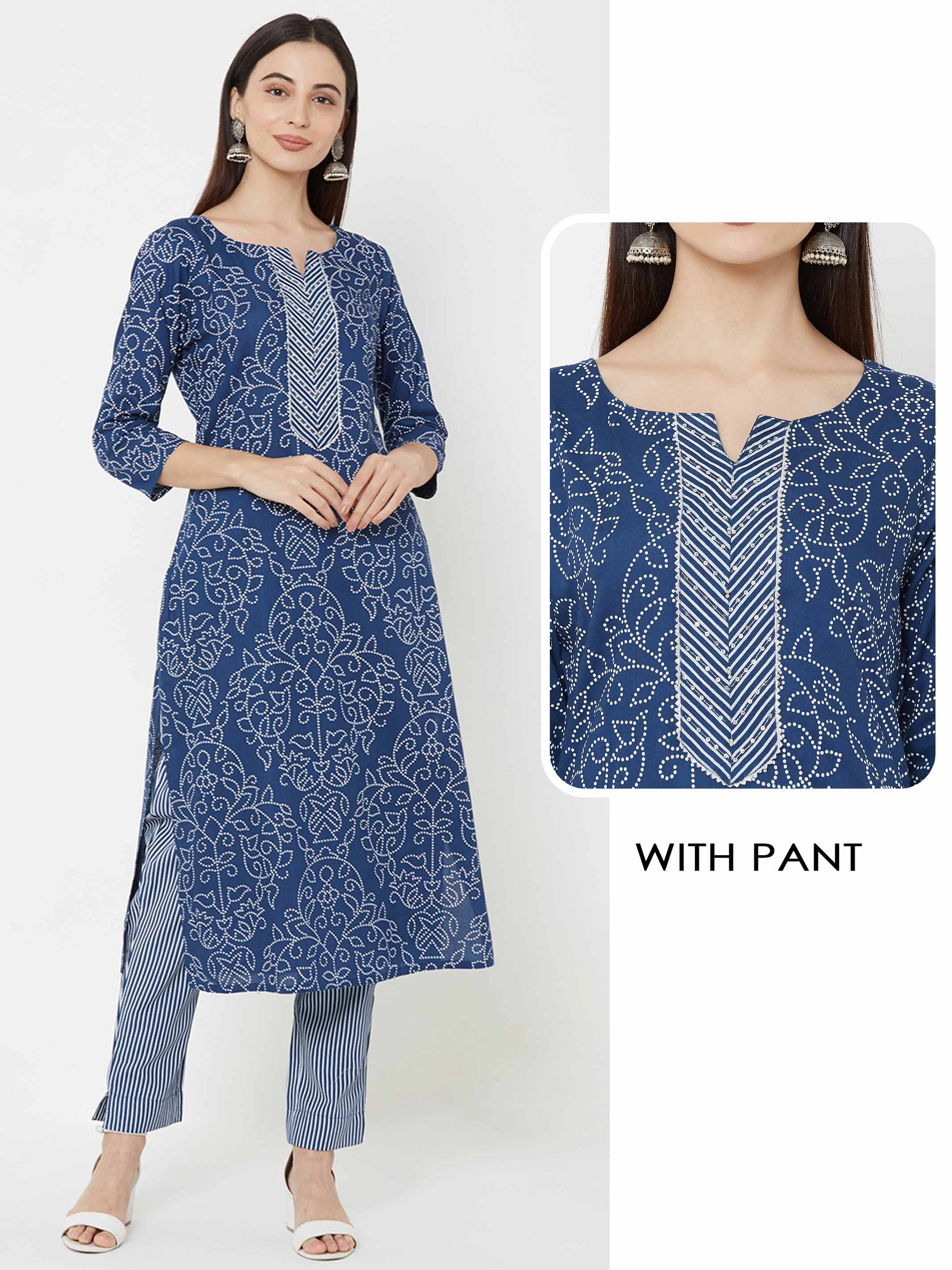 Sequins, temple gota Embellished Kurta with striped Pant – Indigo