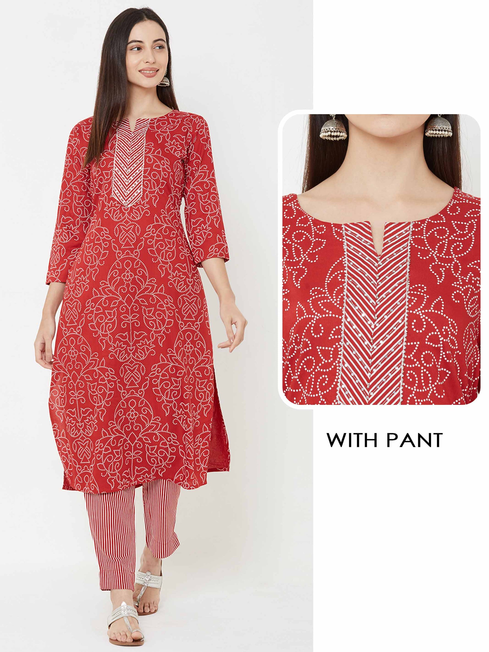 Sequins, temple gota Embellished Kurta with striped Pant – Red