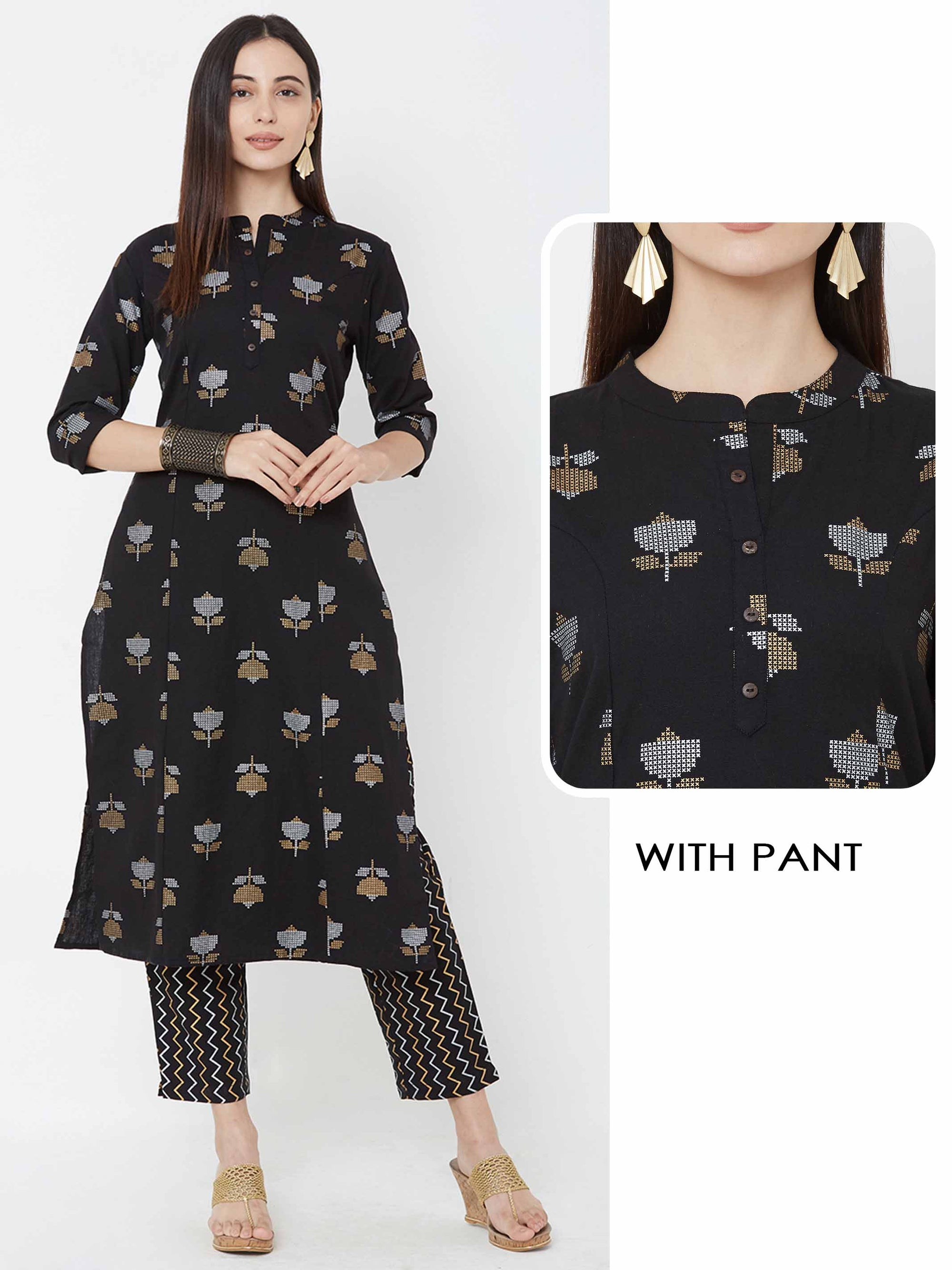 Floral printed princess cut Kurta with chevron printed pant – Black