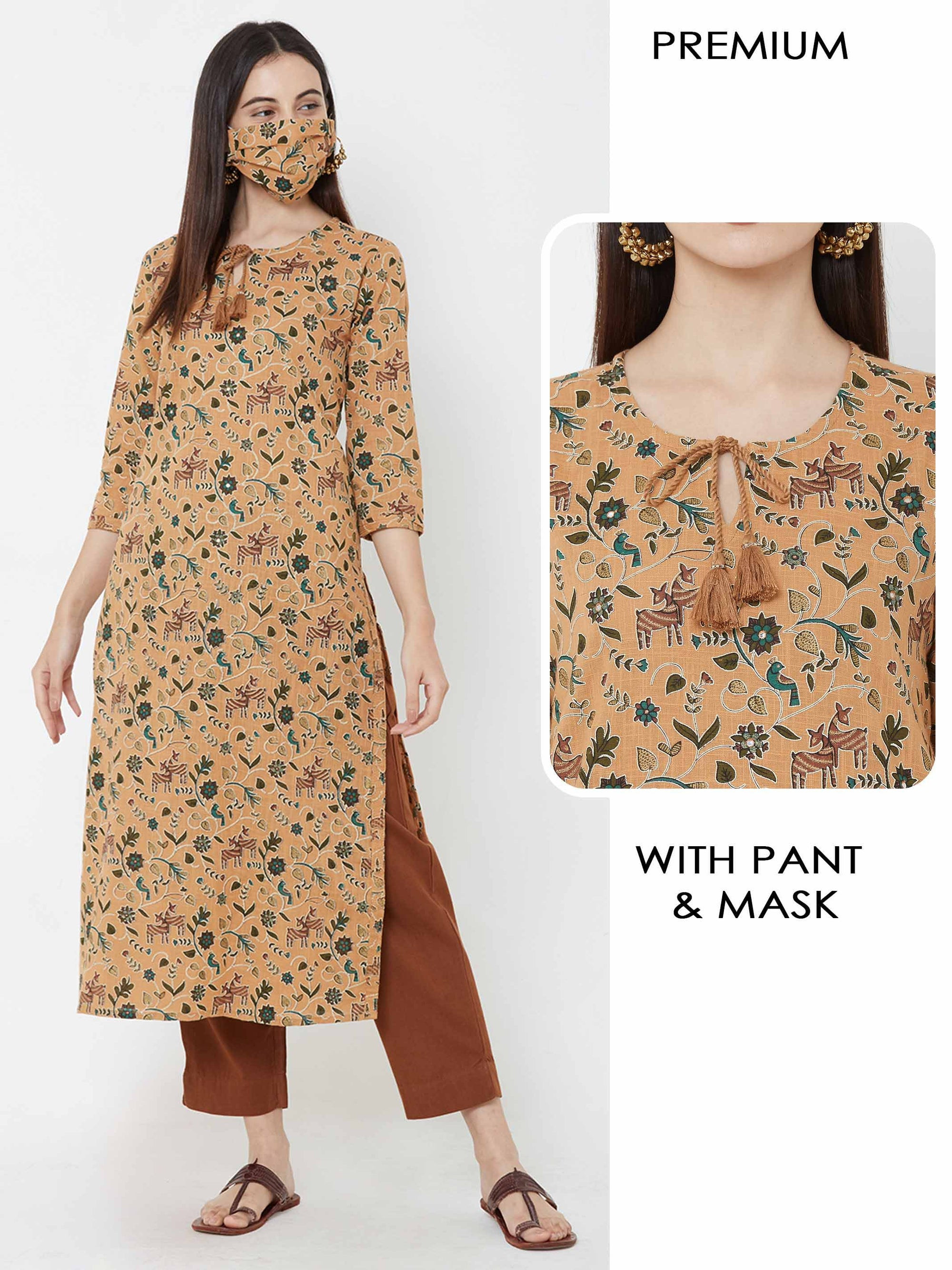 Deer & birds printed  Kurta with solid Pant & mask – Rust