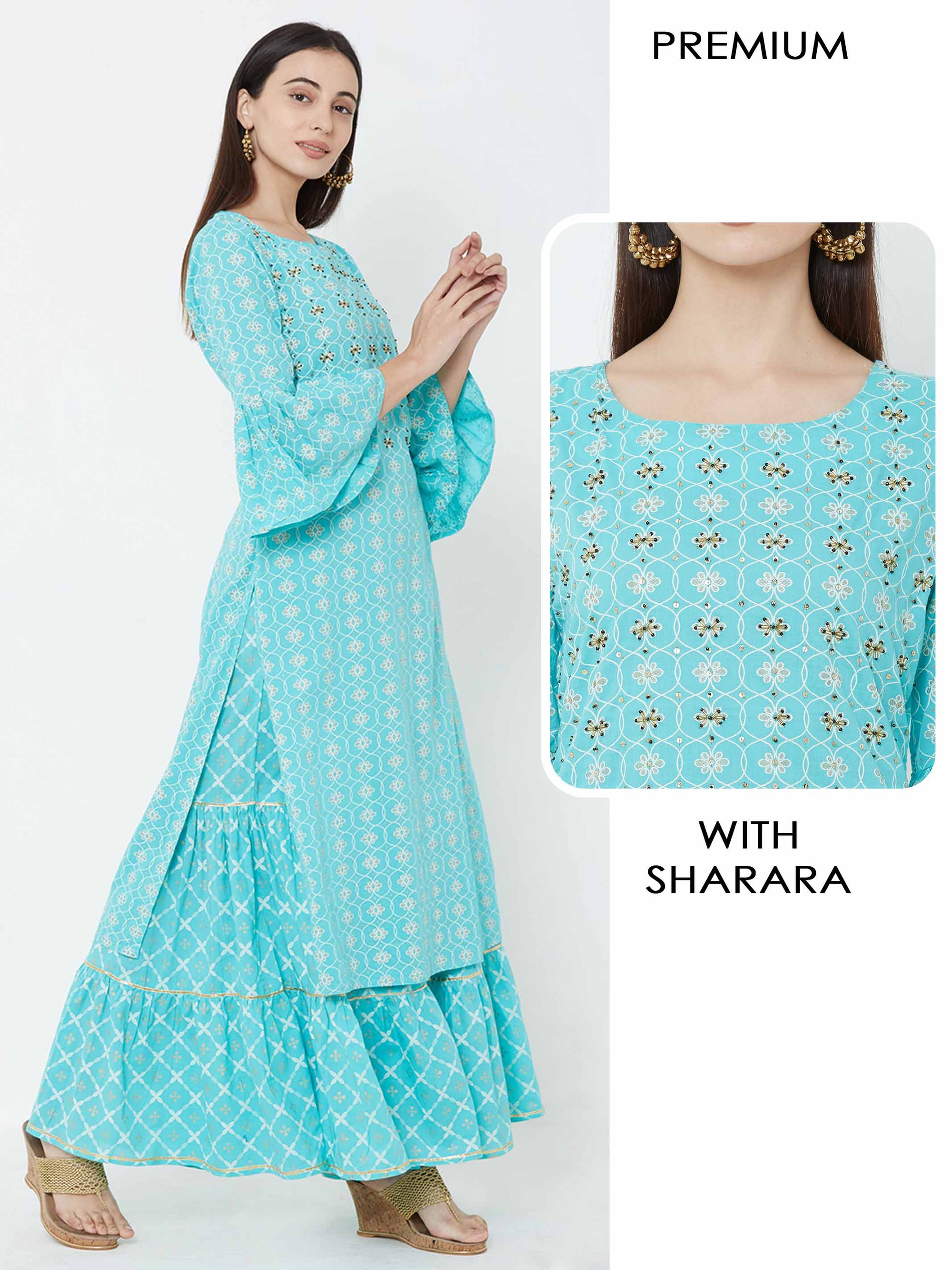 Cutdana, Sequins & bead embellished Kurta with floral Printed sharara – Blue