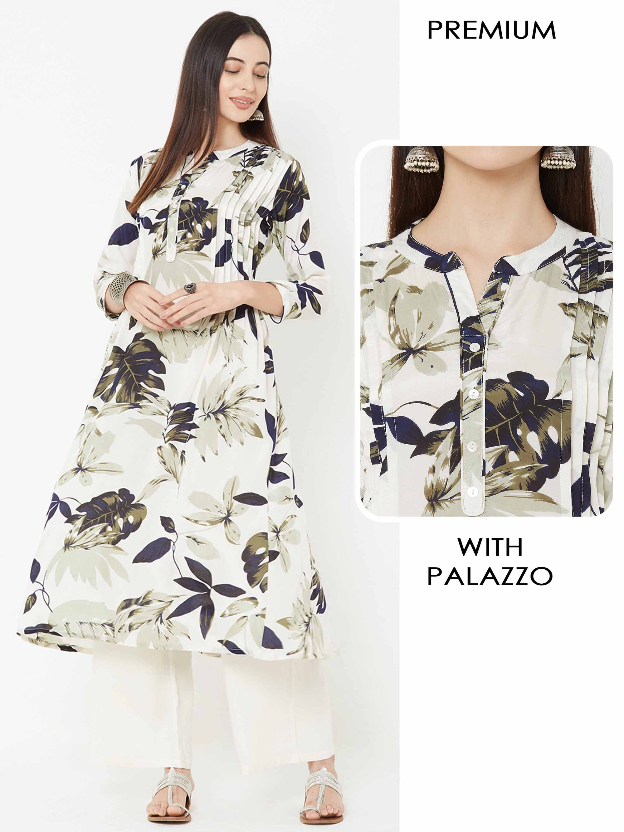 Tropical Leaf Printed Kurta & Solid Palazzo – Off white