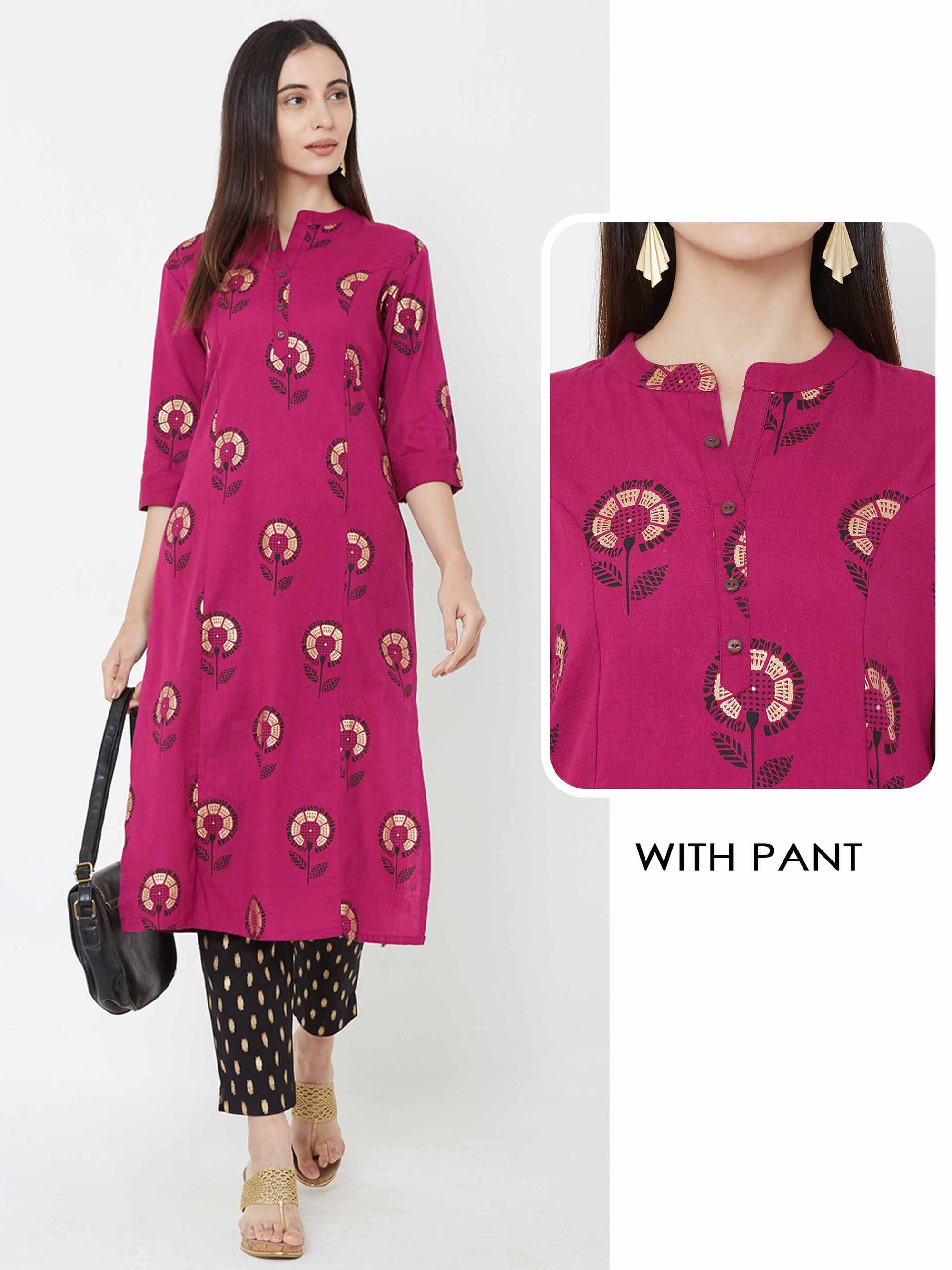 Floral printed princess cut Kurta with Foil printed pant – Magenta