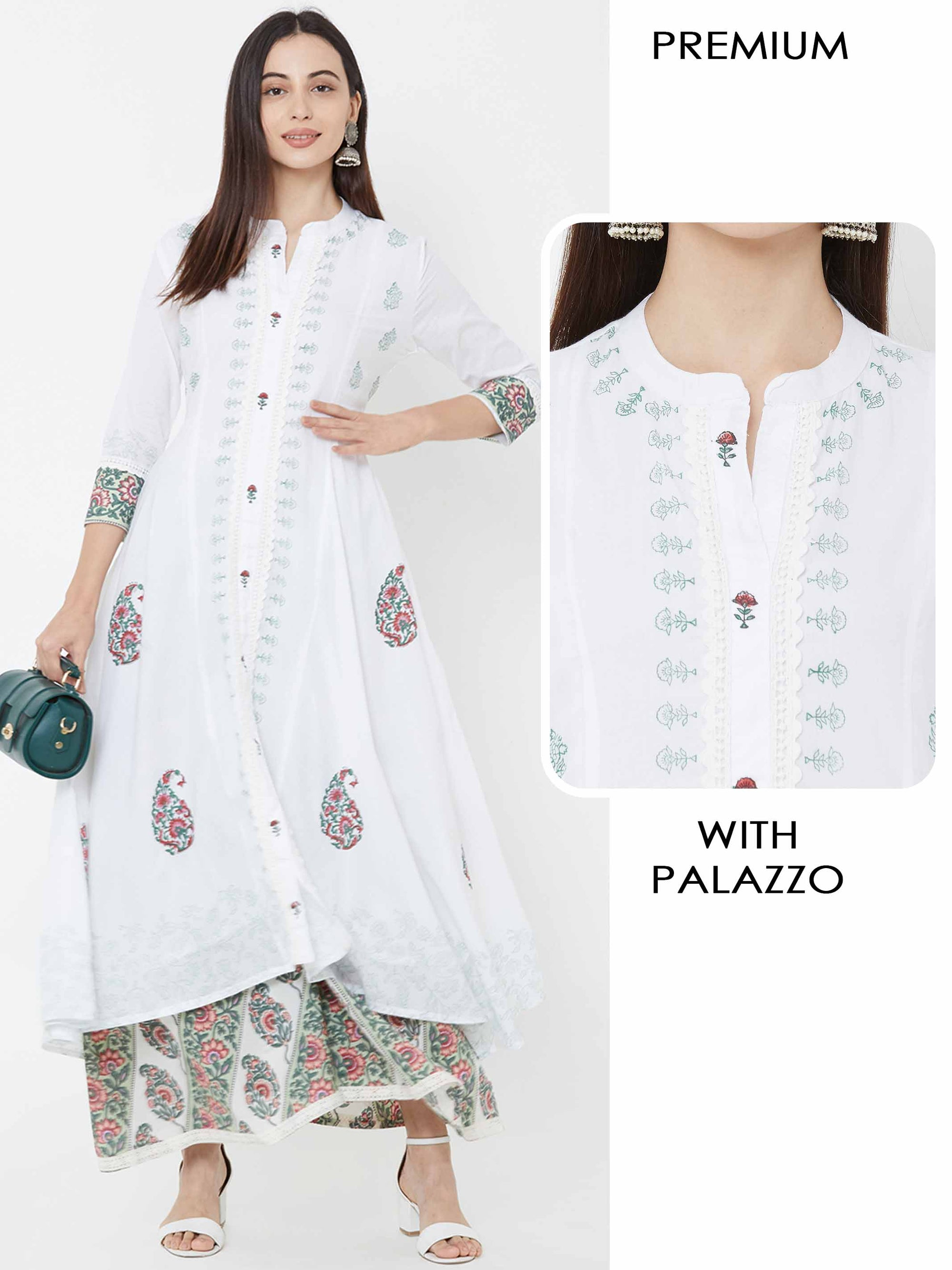 Floral Printed High-Low Kurta with Printed Palazzo – White