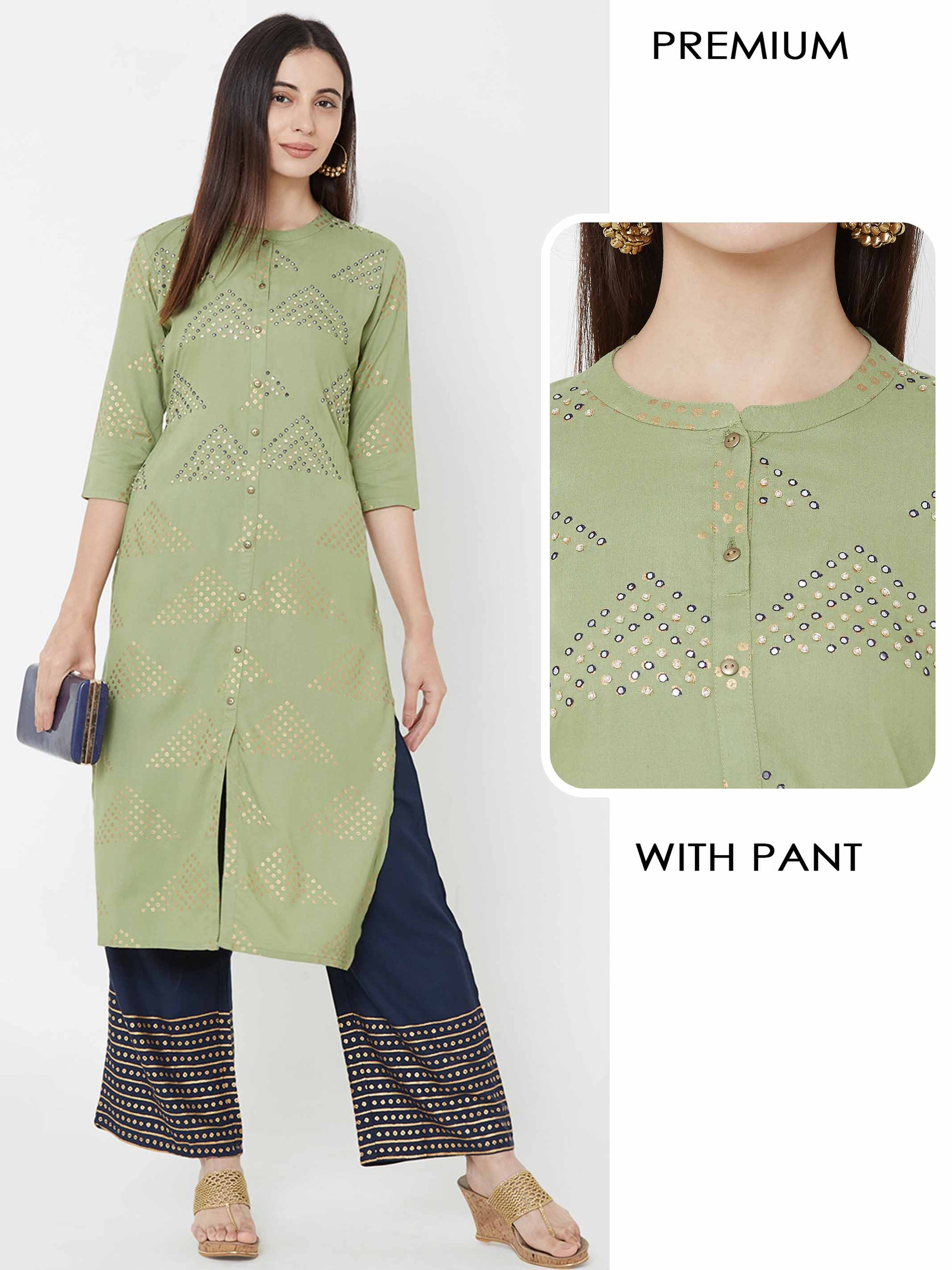 Foil mirror work & Pearl embellished Kurta with Foil printed pant – Green