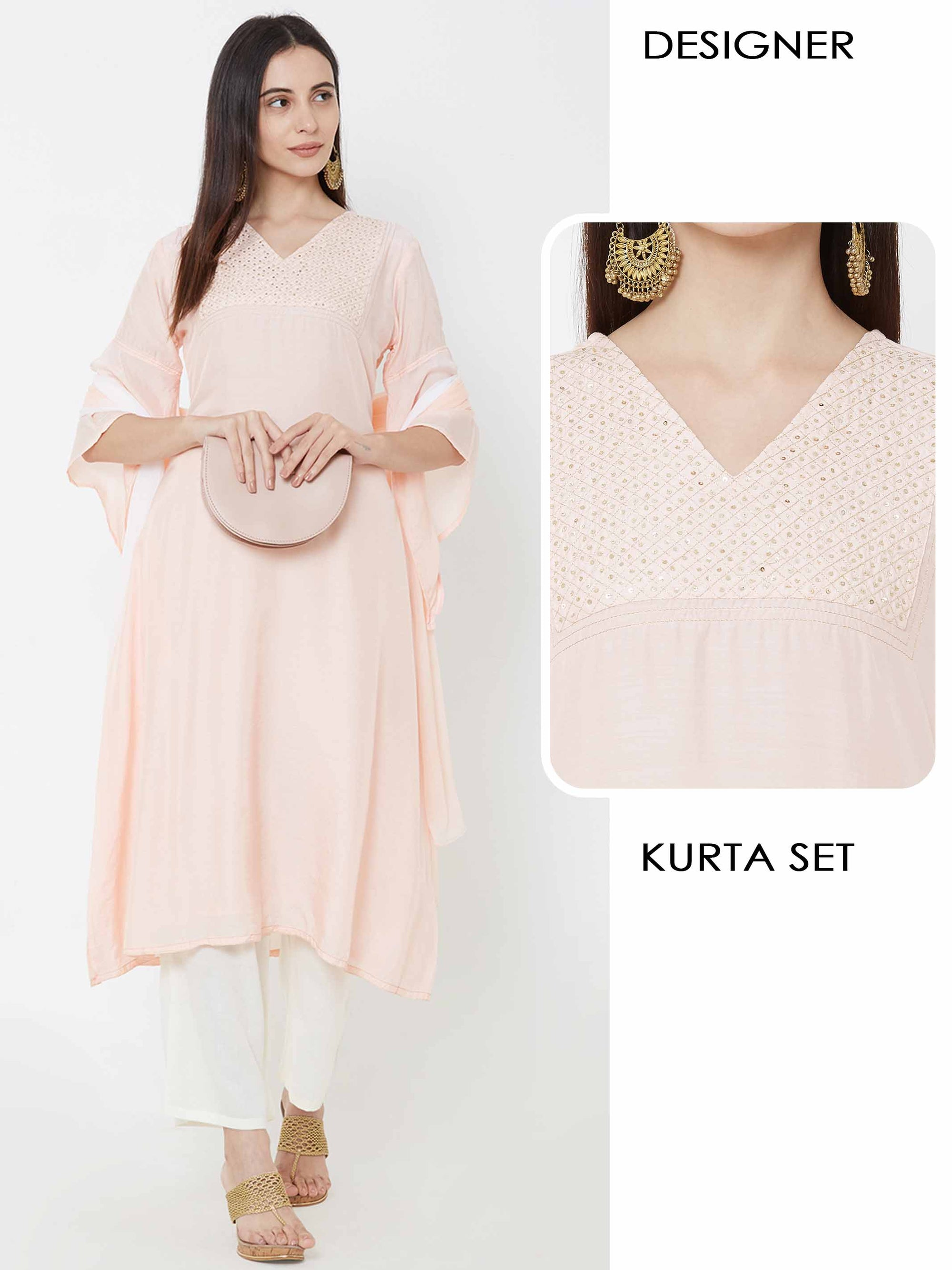 Sequins Work & Flare Sleeve Kurta, Palazzo & Ombre Dupatta – Light Peach