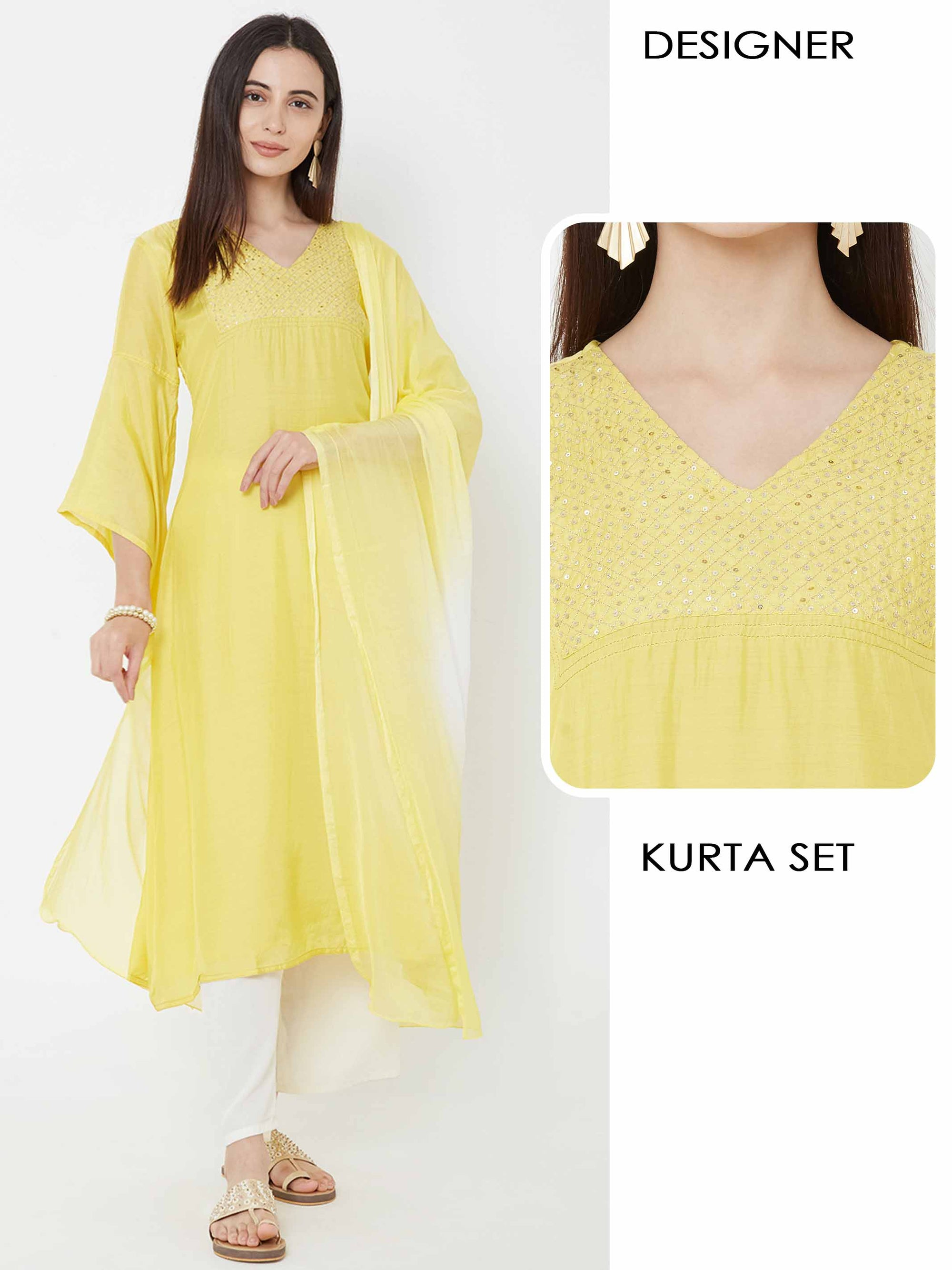Sequins Work & Flare Sleeve Kurta, Palazzo & Ombre Dupatta - Yellow