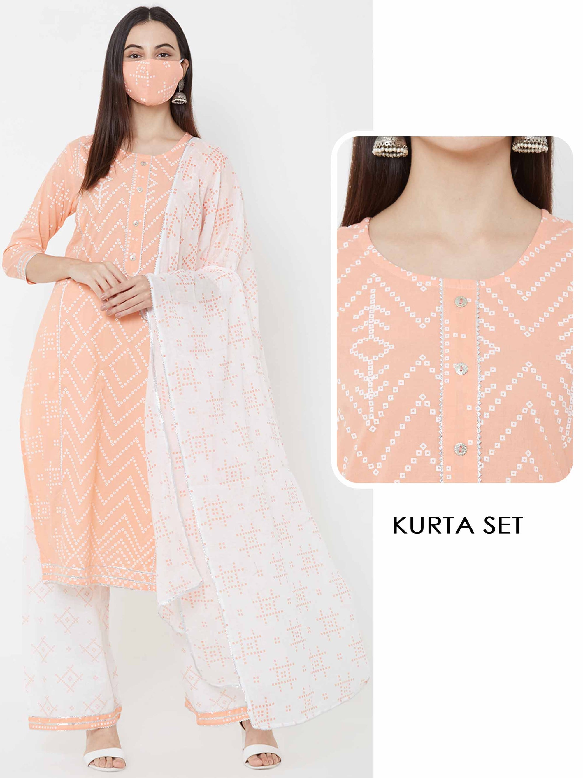 Chevron Kurta, Bandhani printed palazzo & Dupatta with mask – Peach