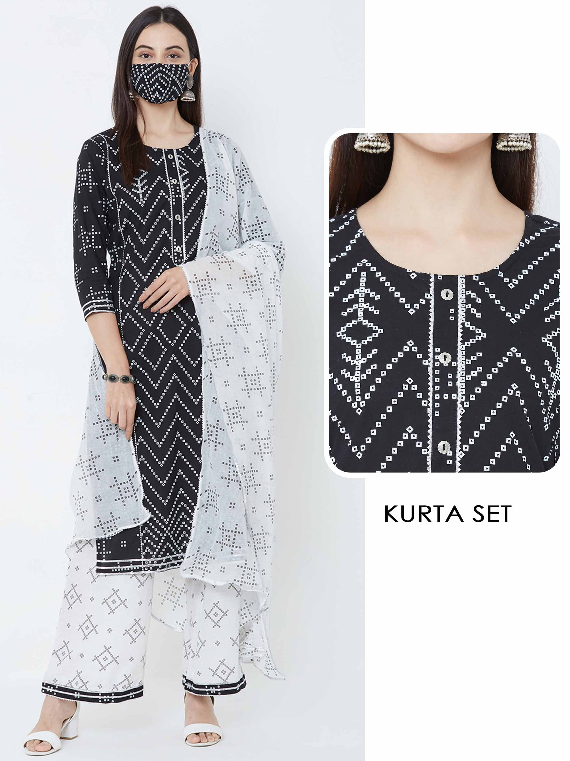 Chevron Kurta, Bandhani printed palazzo & Dupatta with mask – Black