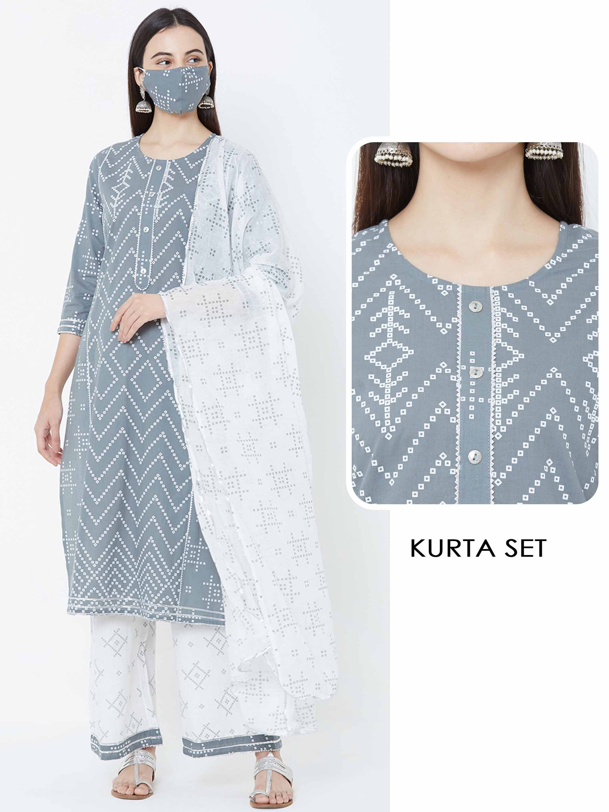 Chevron Kurta, Bandhani printed palazzo & Dupatta with mask – Grey