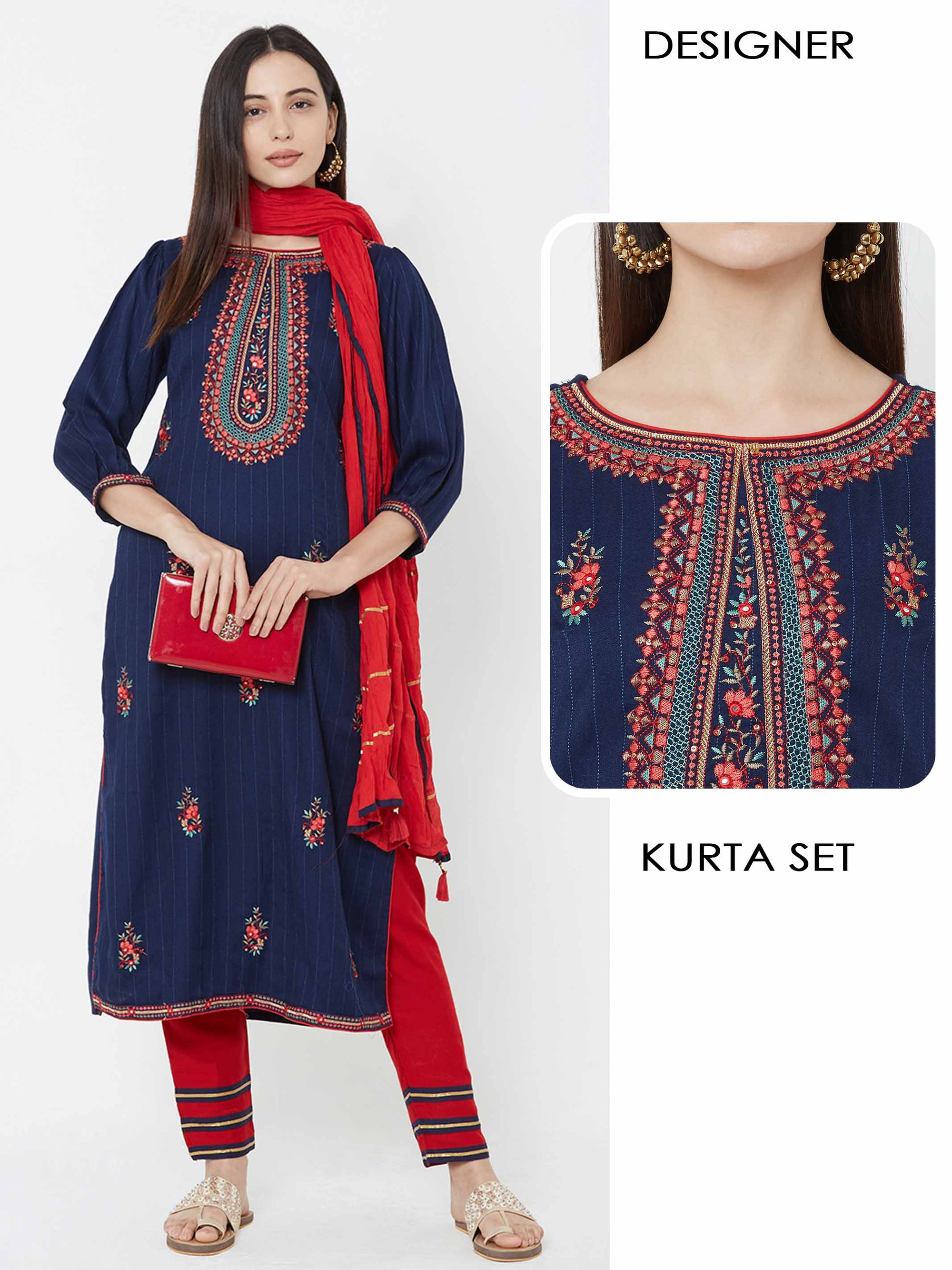Floral Embroidered Kurta, pant & Crushed dupatta – Navy blue