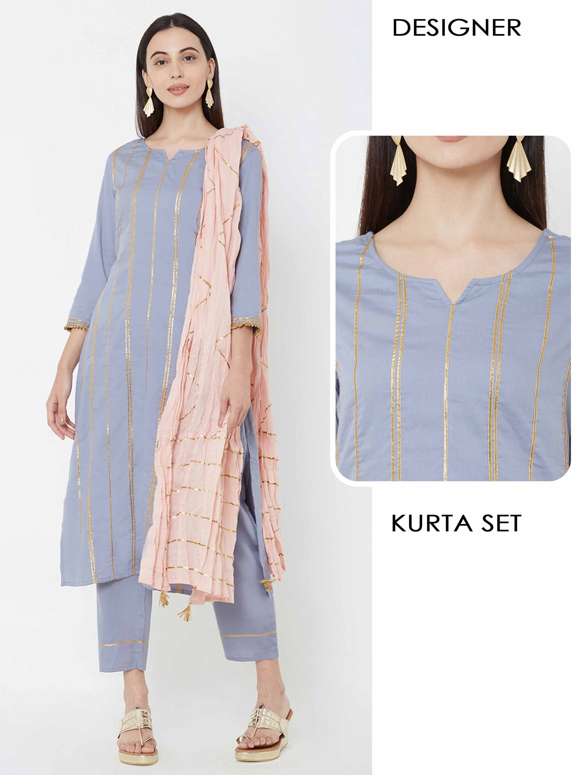 Vertical gota laced Kurta, pant & Crushed dupatta – Grey