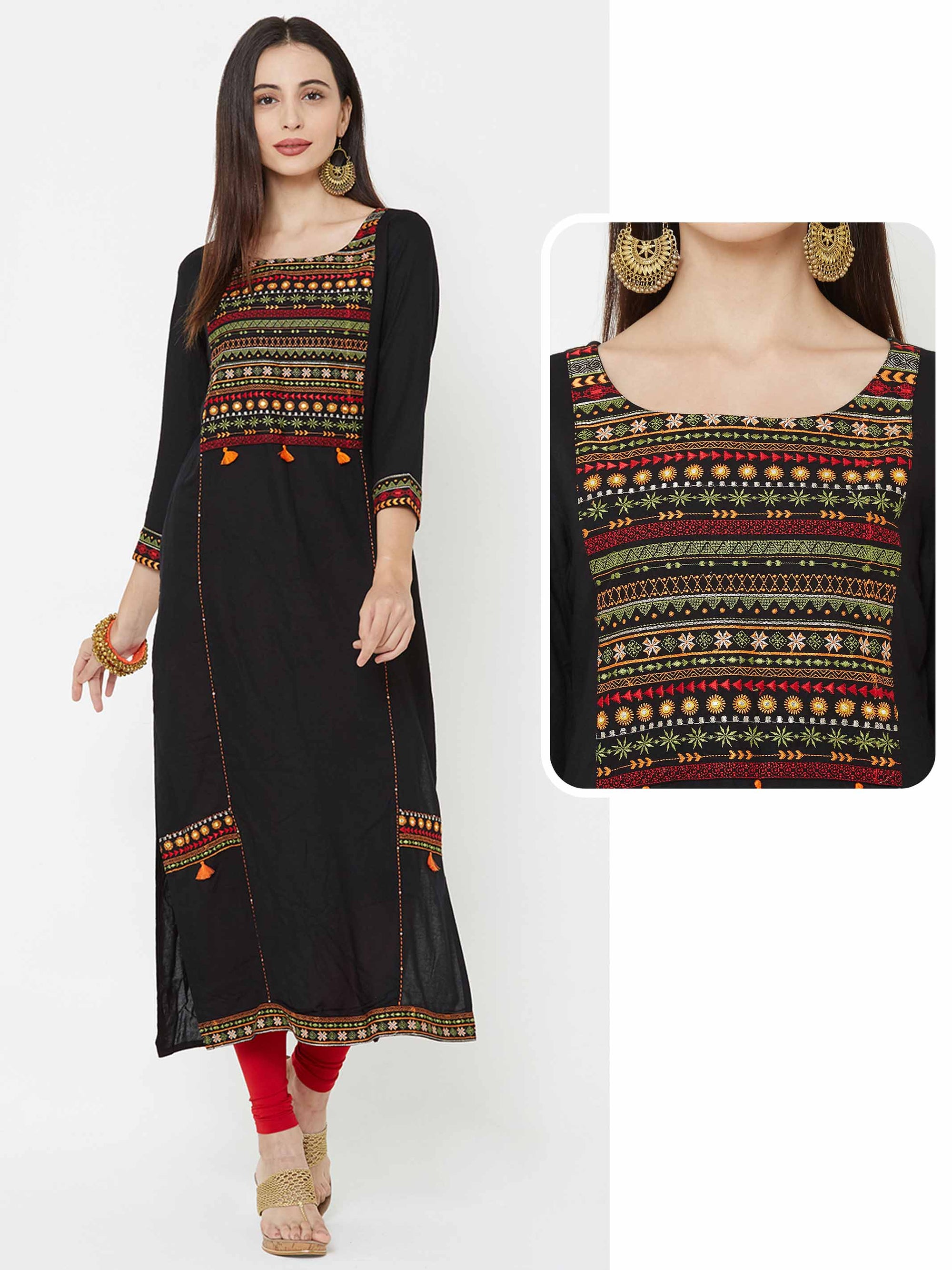 Tribal Embroidered Panel Kurti - Black