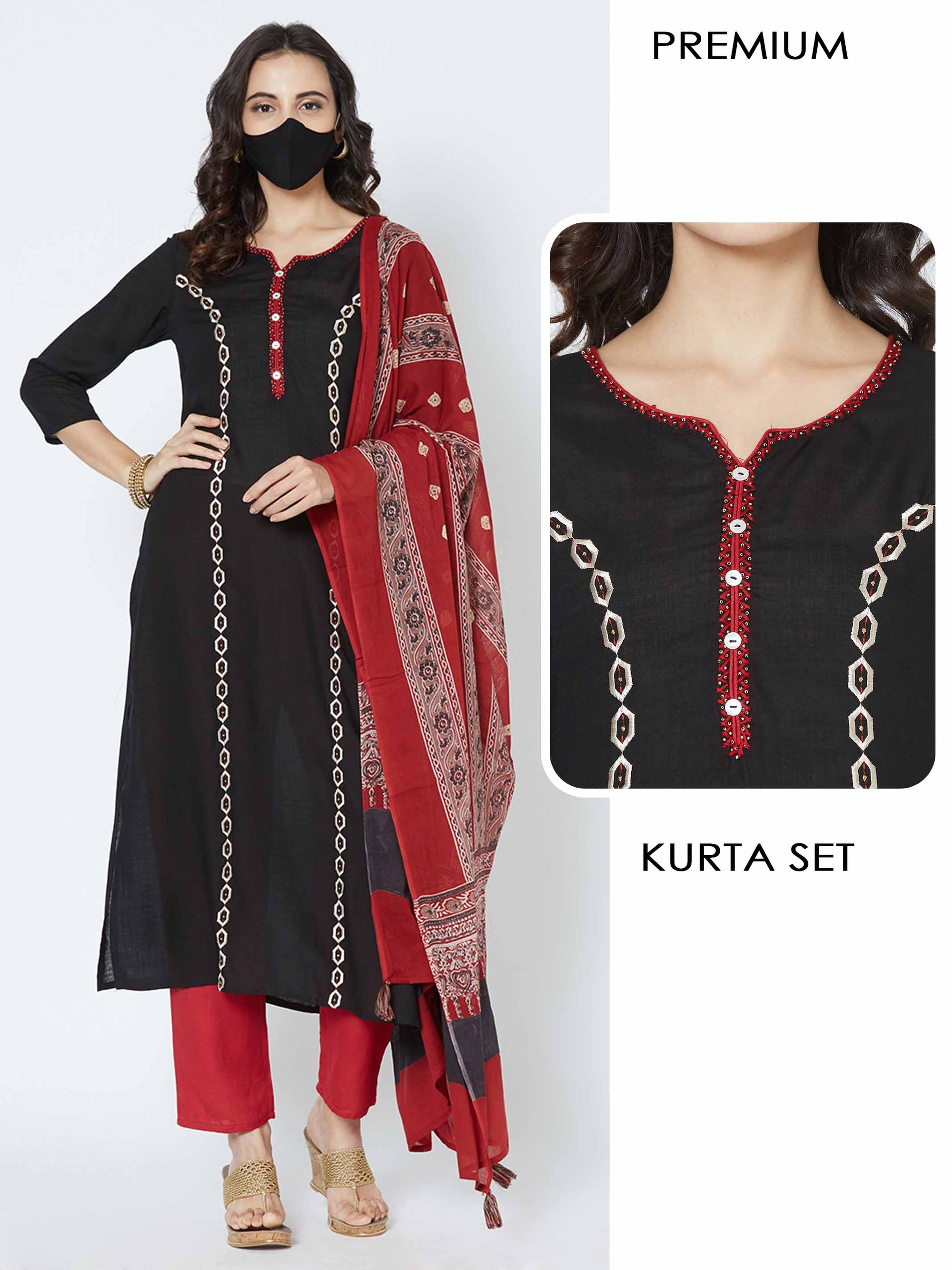 Embroidery Placement Kurta with Solid pant and Printed Dupatta with matching mask - Black