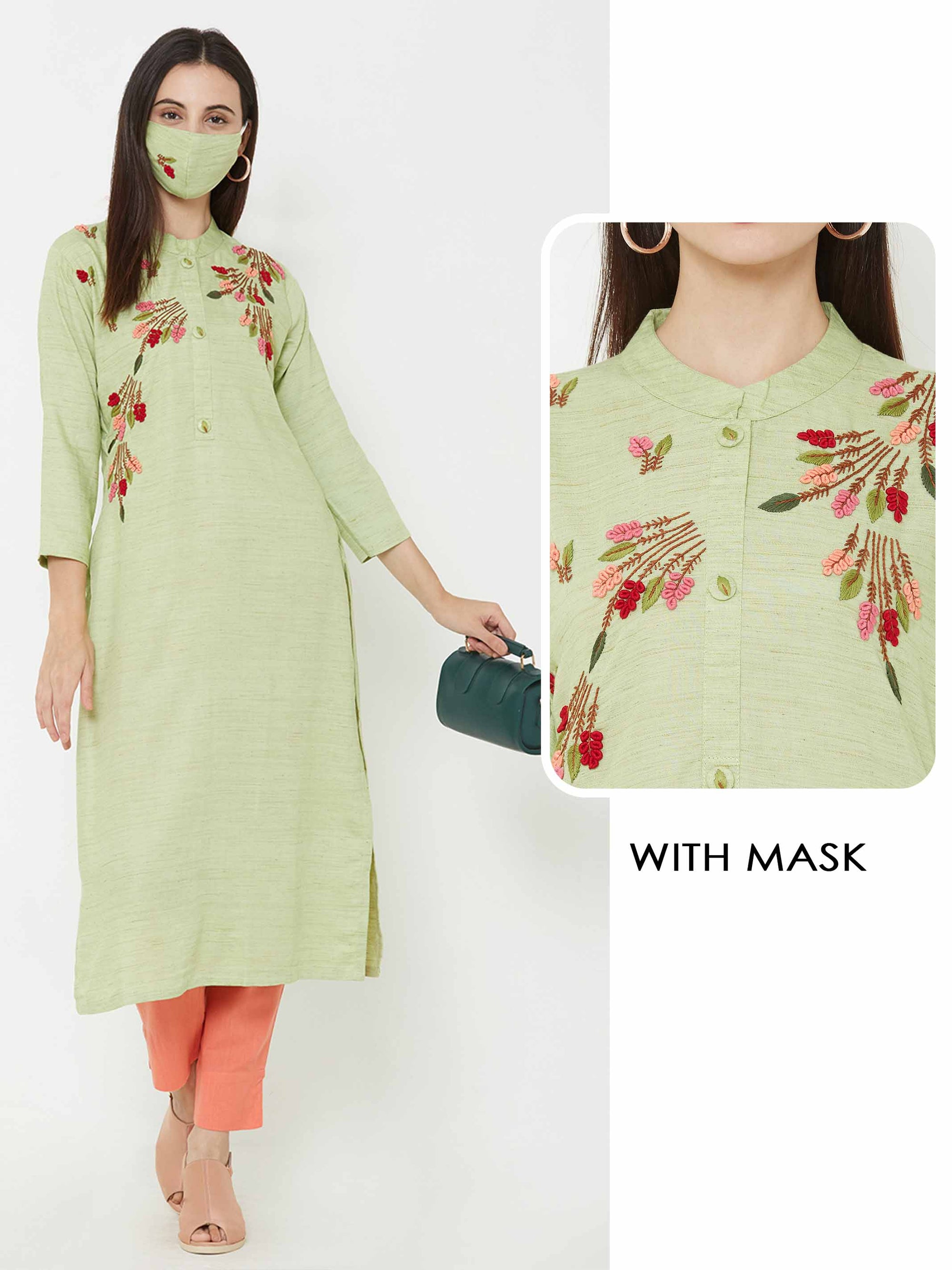 Floral Hand Embroidered Kurta - Pista Green