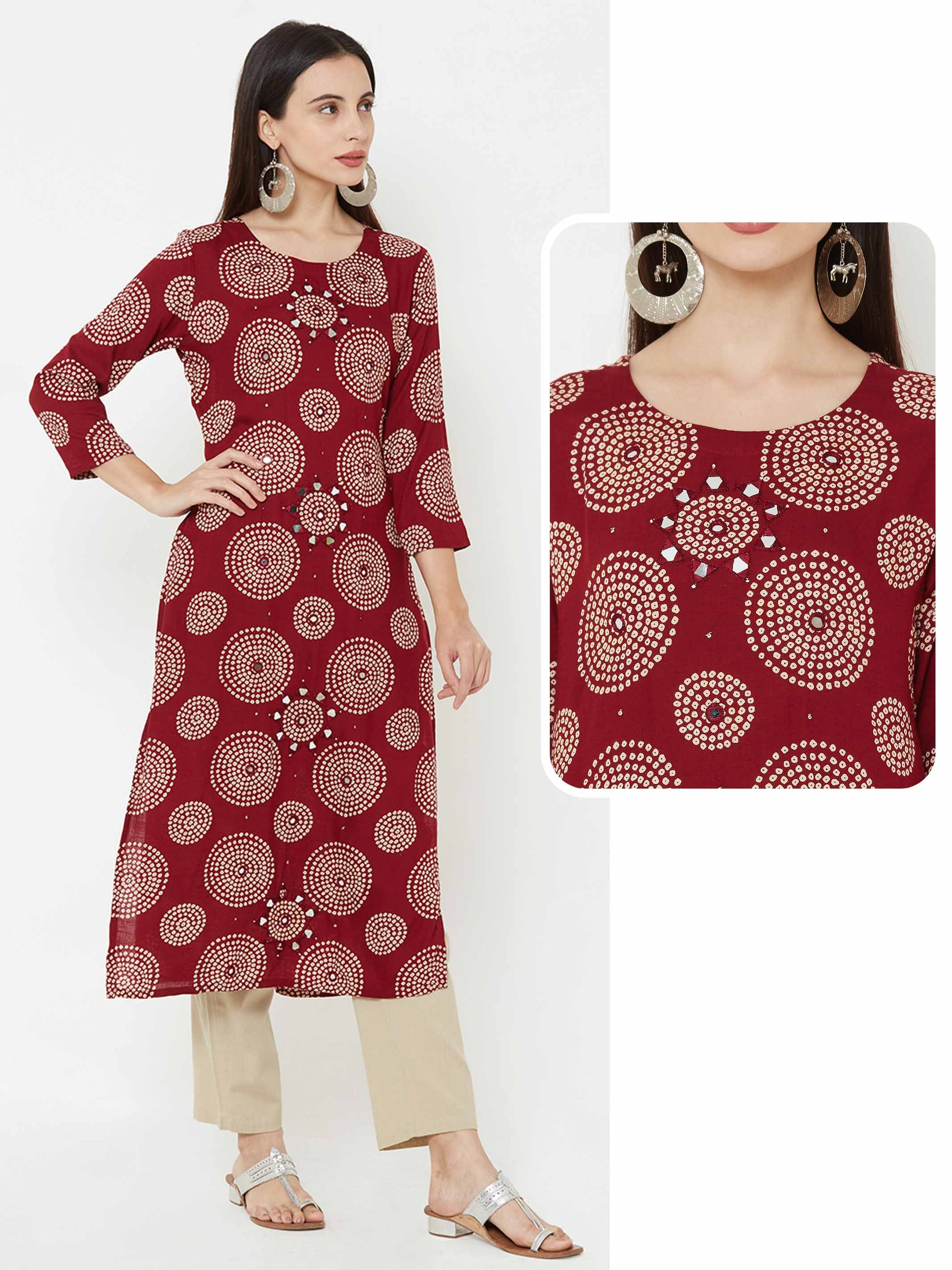 Mirror Embroidered Bandhani printed kurta – Maroon